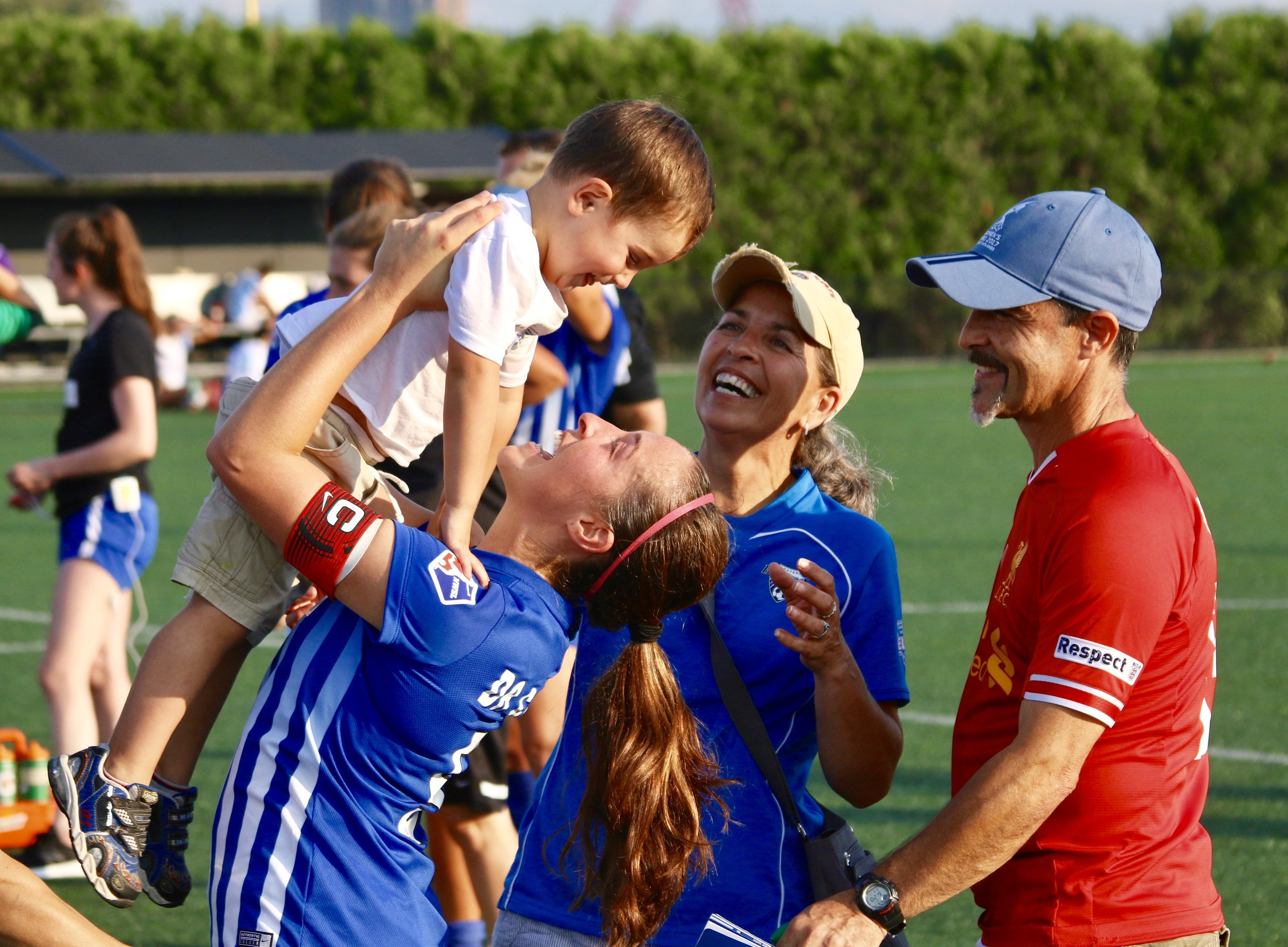 Amanda DaCosta celebrates her final match with her family.