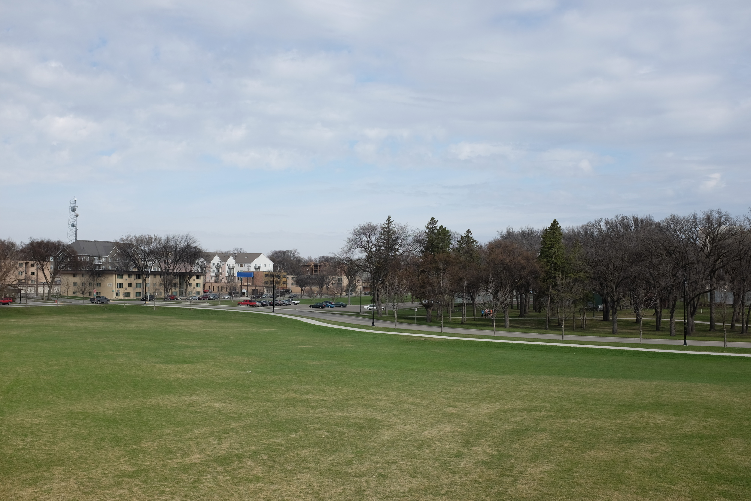 The view of Island Park from Hawthorne Elementary