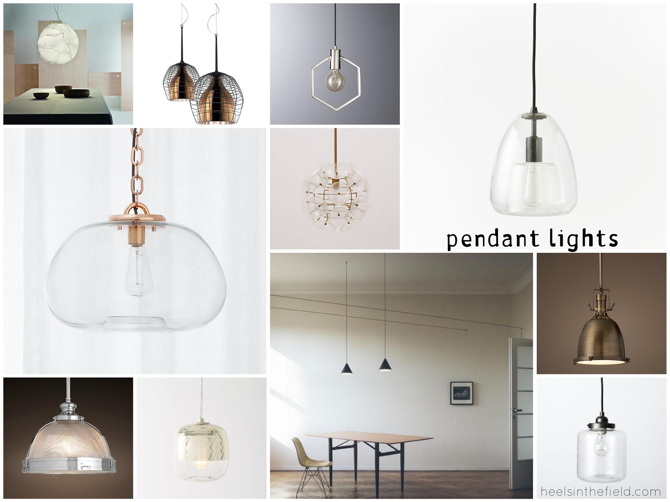 Pendant lighting inspiration board. (West Elm + Canada Lighting Experts)