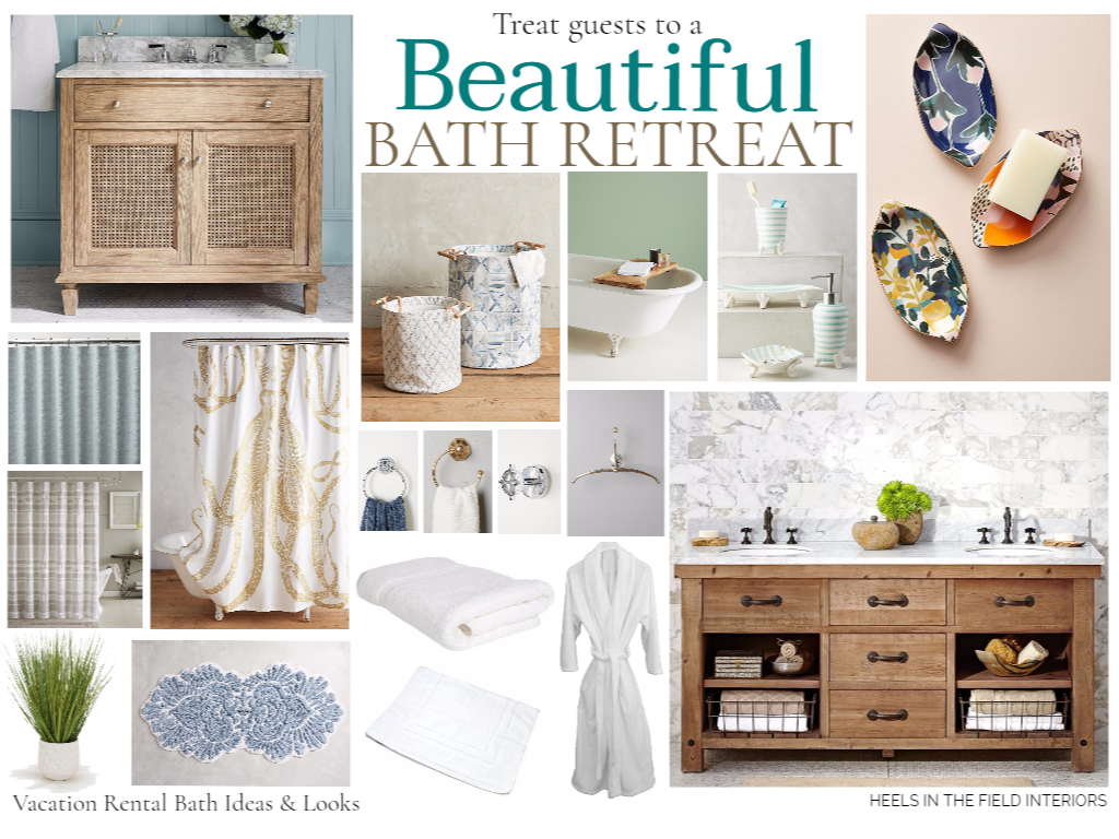 Creating a tranquil vacation rental bathroom.