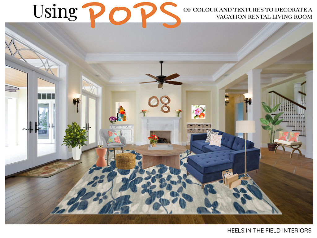 Pops of colour + vacation rental living room.