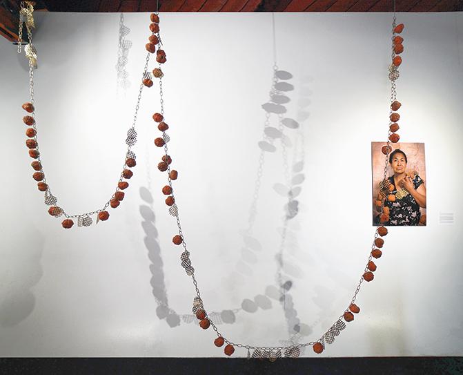 Bety, 2017, Plaster, Sheet Metal, Chain, 11 x 11 x 1 feet