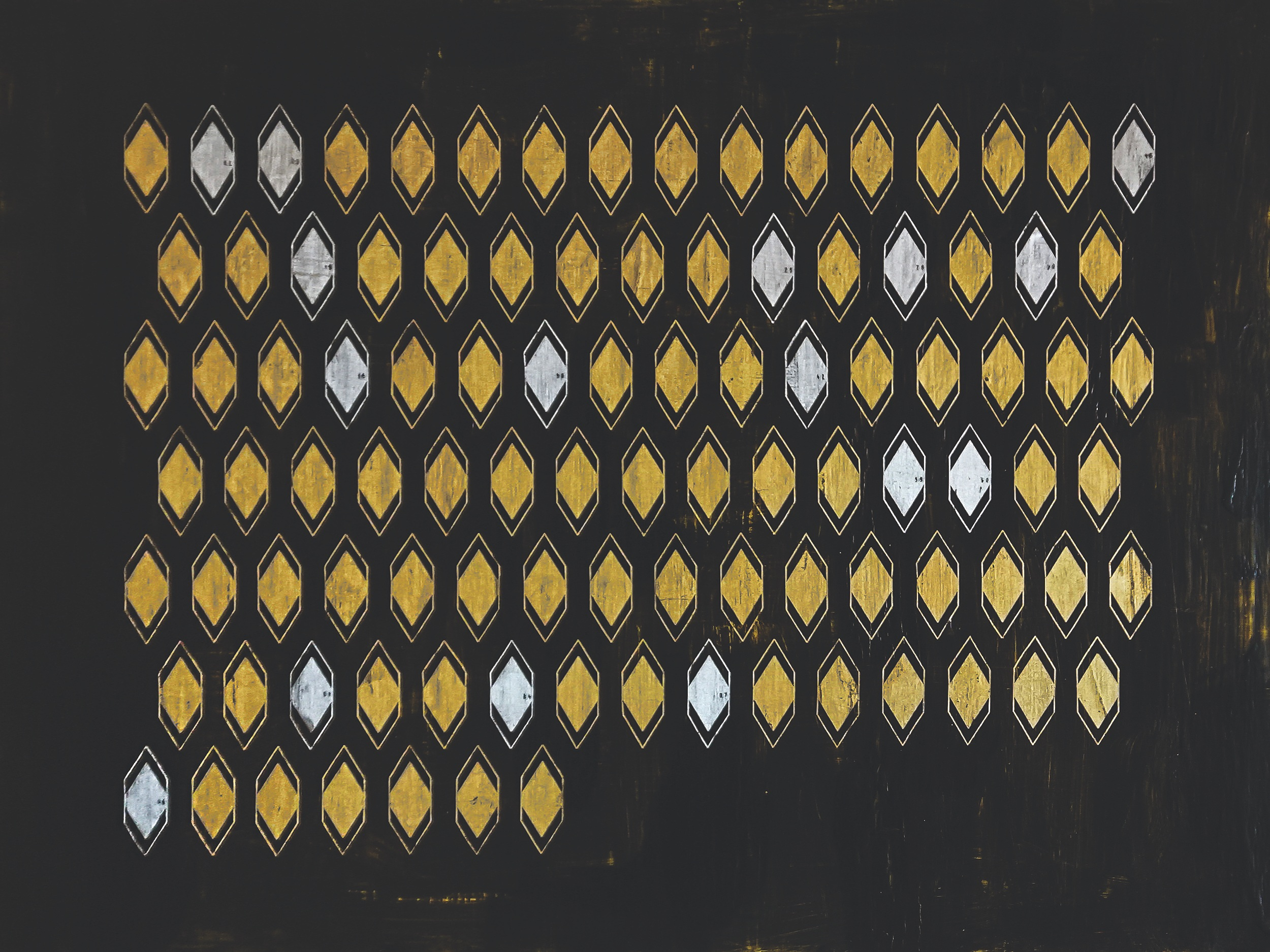 Second Class: Women in the Academy, 2019, Milk paint, gold and silver leaf on panel, 30 x 40 inches