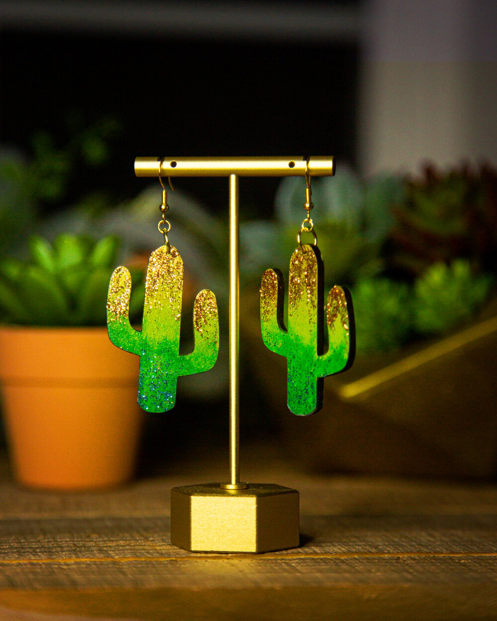 Wood Cactus Cheetah earrings and necklace