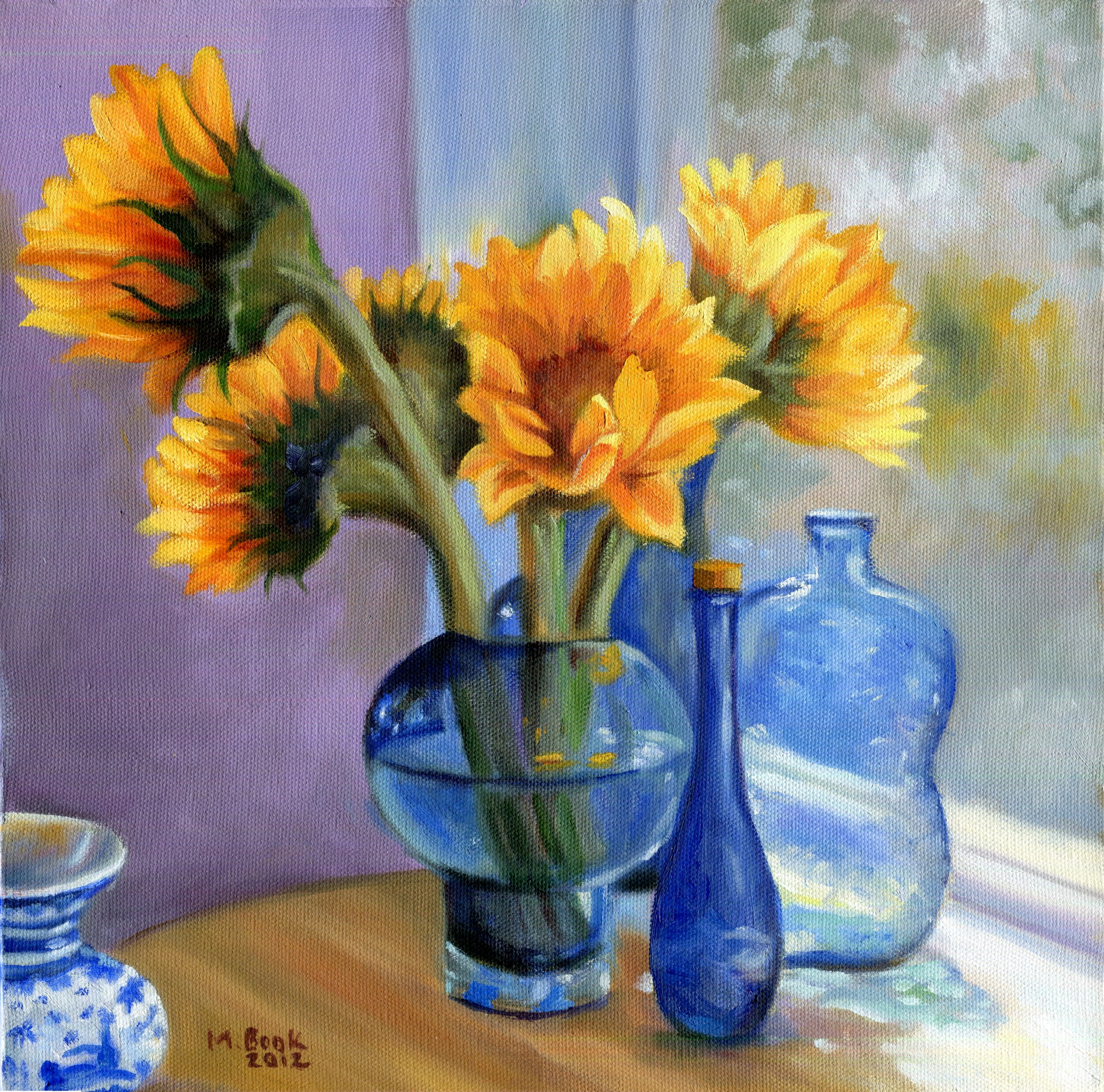 Sunflowers and Blue Bottles.JPG