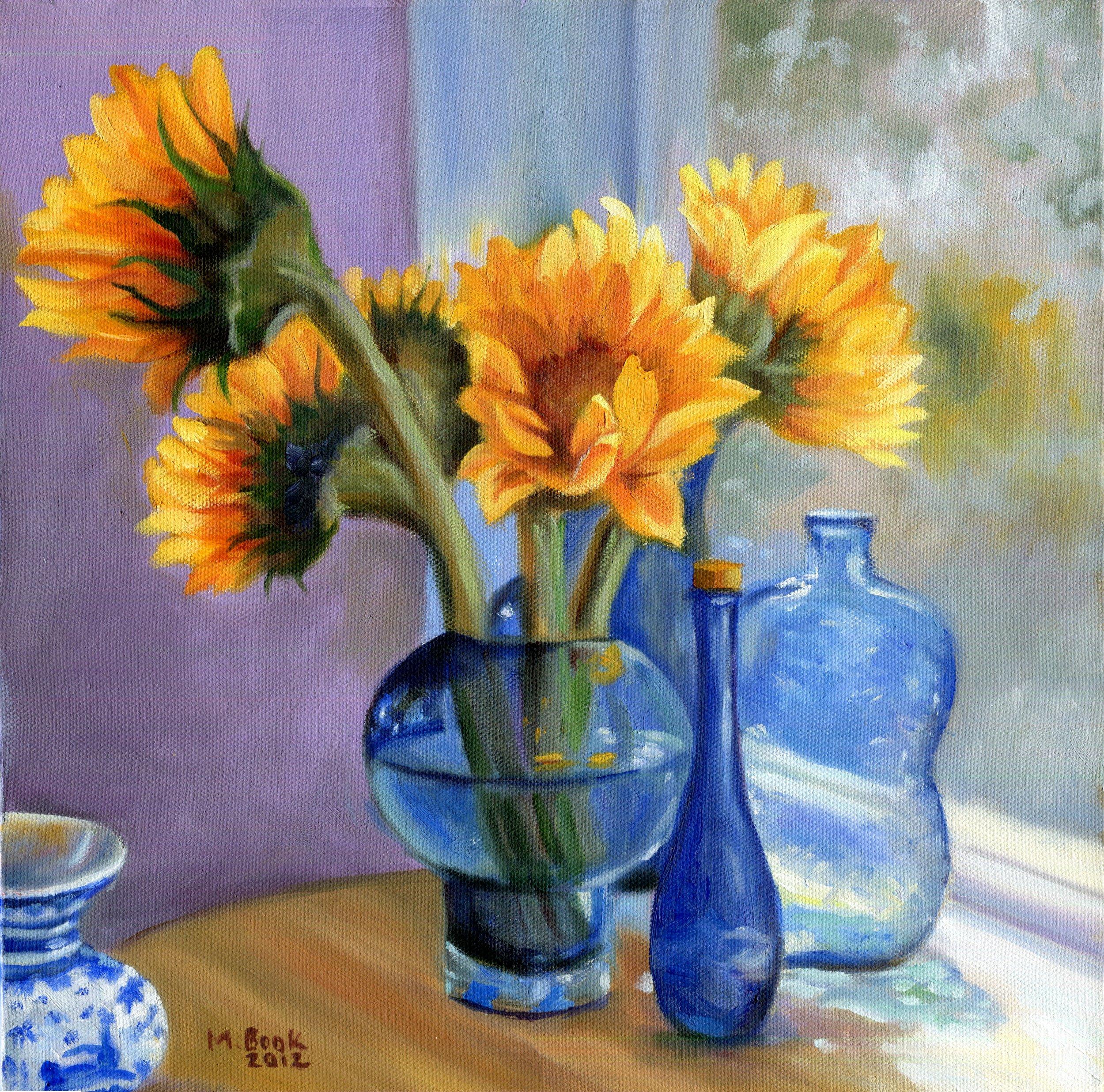 Sunflowers and Blue Bottles.JPG