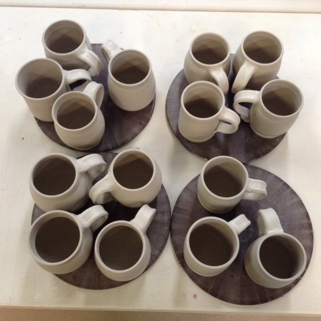 Mugs right after handles are put on.
