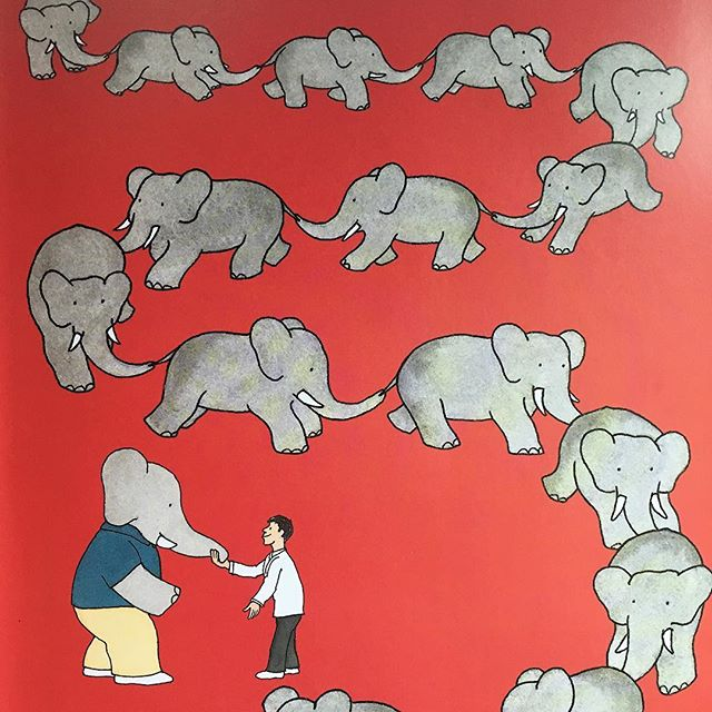 Wallpaper inspo found inside an old Babar book 😍 #wallpaper #vintage #childrensillustration #babar #elephant #red