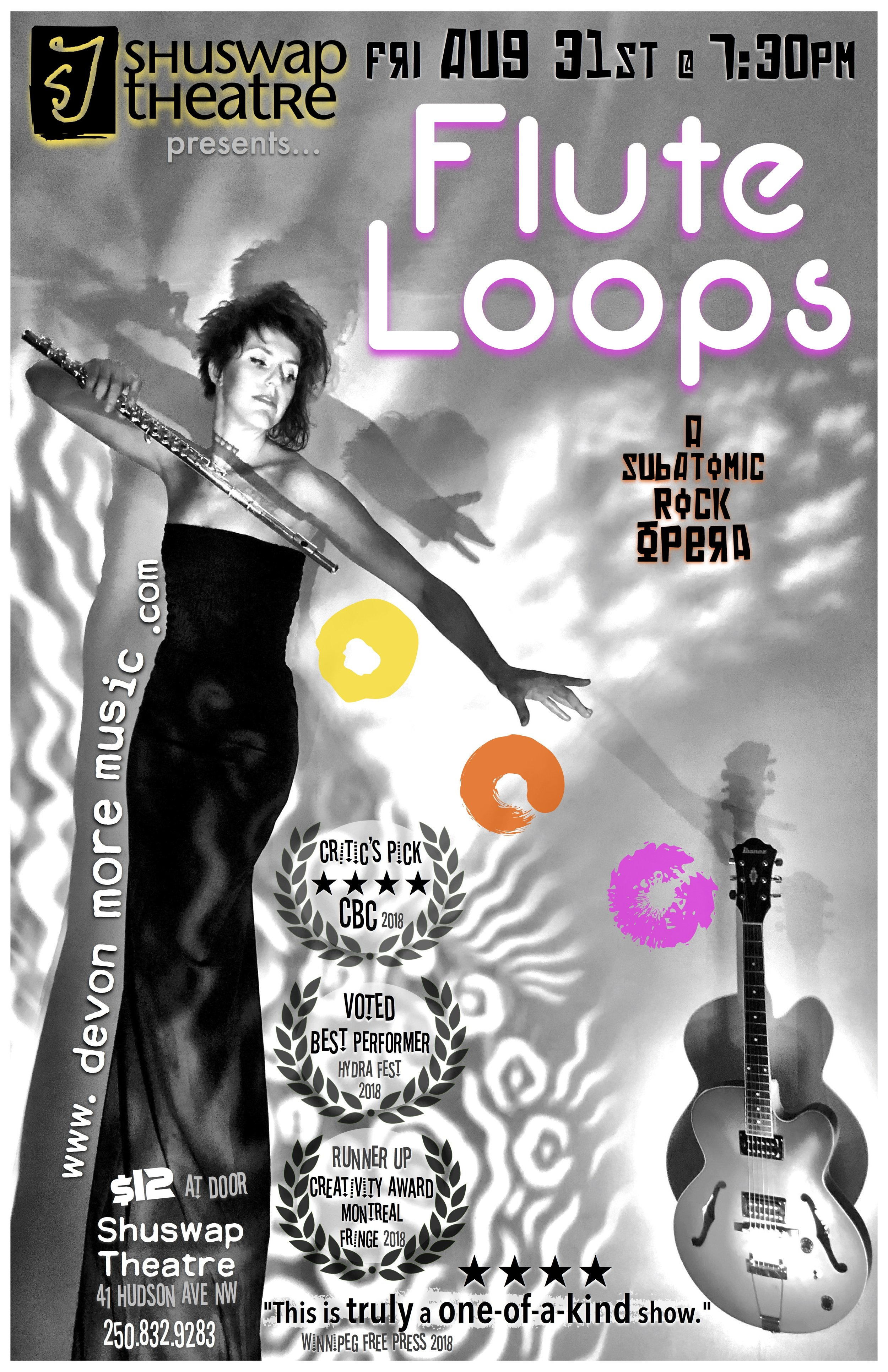 Flute Loops was a CBC Critics' Pick in Winnipeg, and was named Runner Up for the Creativity Award at the Montreal Fringe. In her role, Devon More was voted Best Performer at the 2018 Hydra Festival in Kamloops.