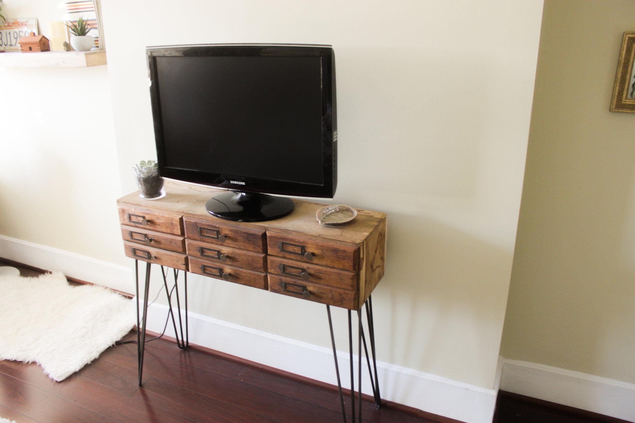 tv stand: DIY  (post here!) // furry rug: ikea
