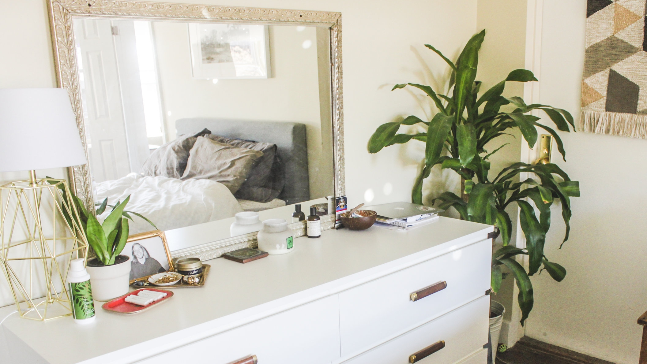 gold lamp: target // gold mirror: thrifted from craigslist full post on how i upgraded this ikea dresser coming soon!