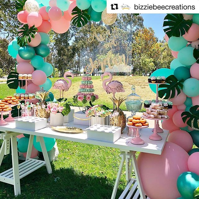 Love that the sun is shining and there's more options for partying outside. How cute is this tantalizing tropical dessert table by @bizziebeecreations, wood cuts by @wolfelaserengraving,  Macarons by @leparadismacaron and decretive cookies by @normissweetestcookies party #birthday #birthdayparty #letsflamingle #flamingo #partystyling #partydecorations #dessert #candytable #partystylist #partytime #partyprops #balloons #event #eventdesign #eventplanner #eventstyling #decoration #partyideas #kidparty #backdrop #wedding #bridalshower #babyshower #sweet16 #quinceañera #anniversary #baptism #catchmyparty #bizziebeecreations