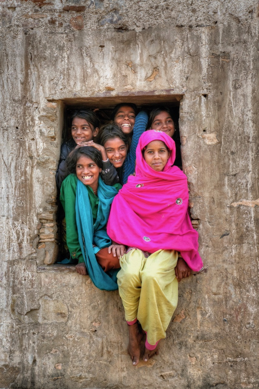 Young Indian Girls in Window