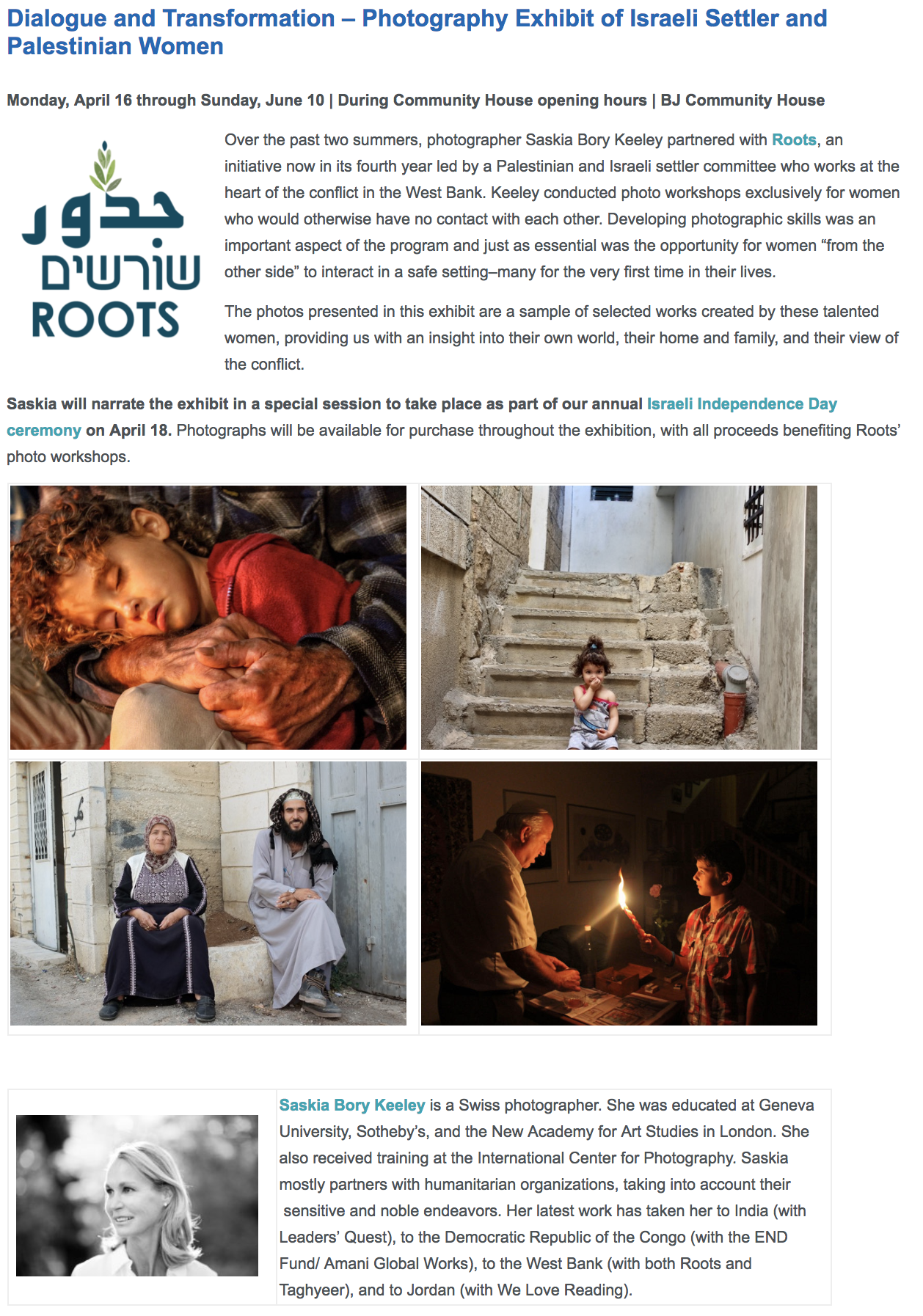 Dialogue and Transformation – Photography Exhibit of Israeli Settler and Palestinian Women -