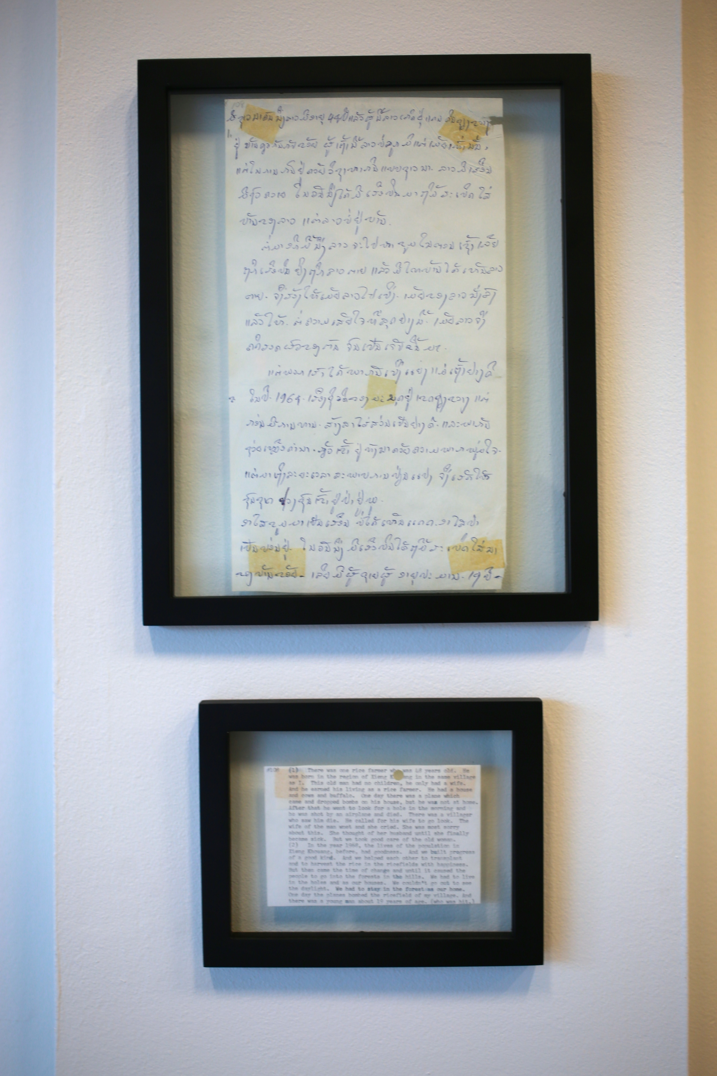 Hand-written testimonies of the Secret War bombings by Lao villagers, on loan courtesy of Legacies of War