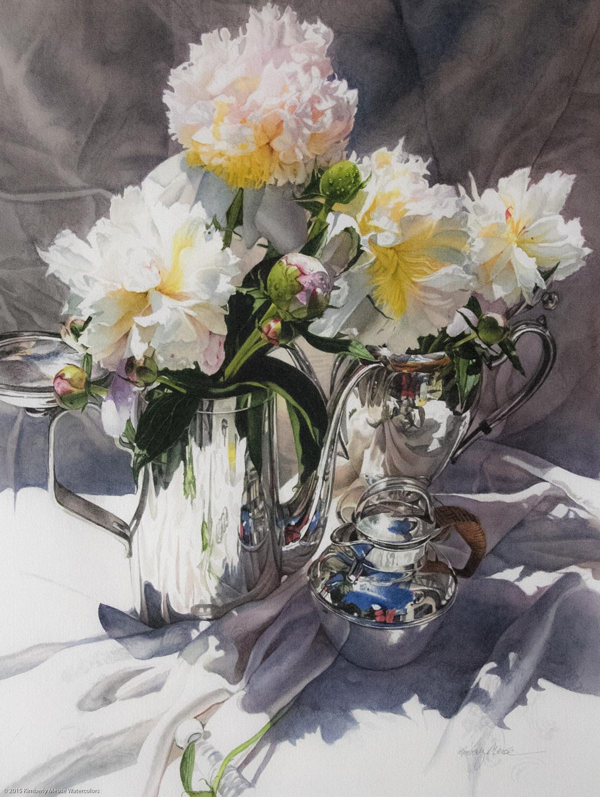 """Cream Peonies"" - watercolor"
