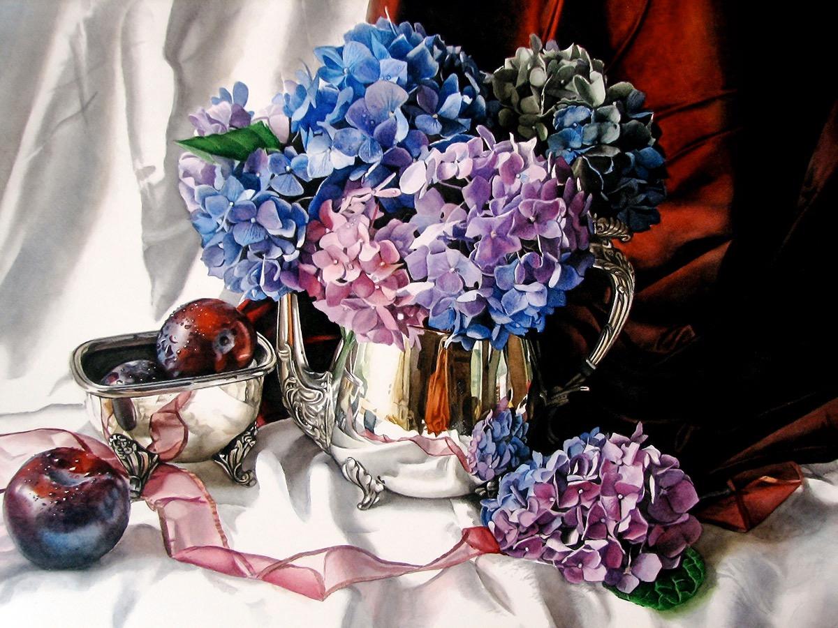 """""""Purple Hydrangeas & Plums"""" - watercolor"""