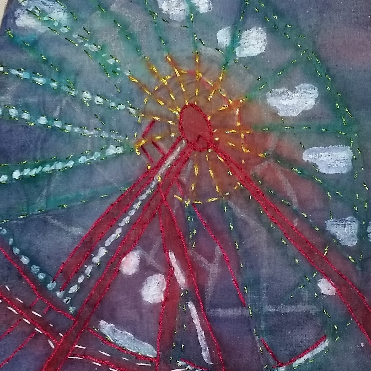 Close up - 8x9 in quilt on a stick Farriswheel