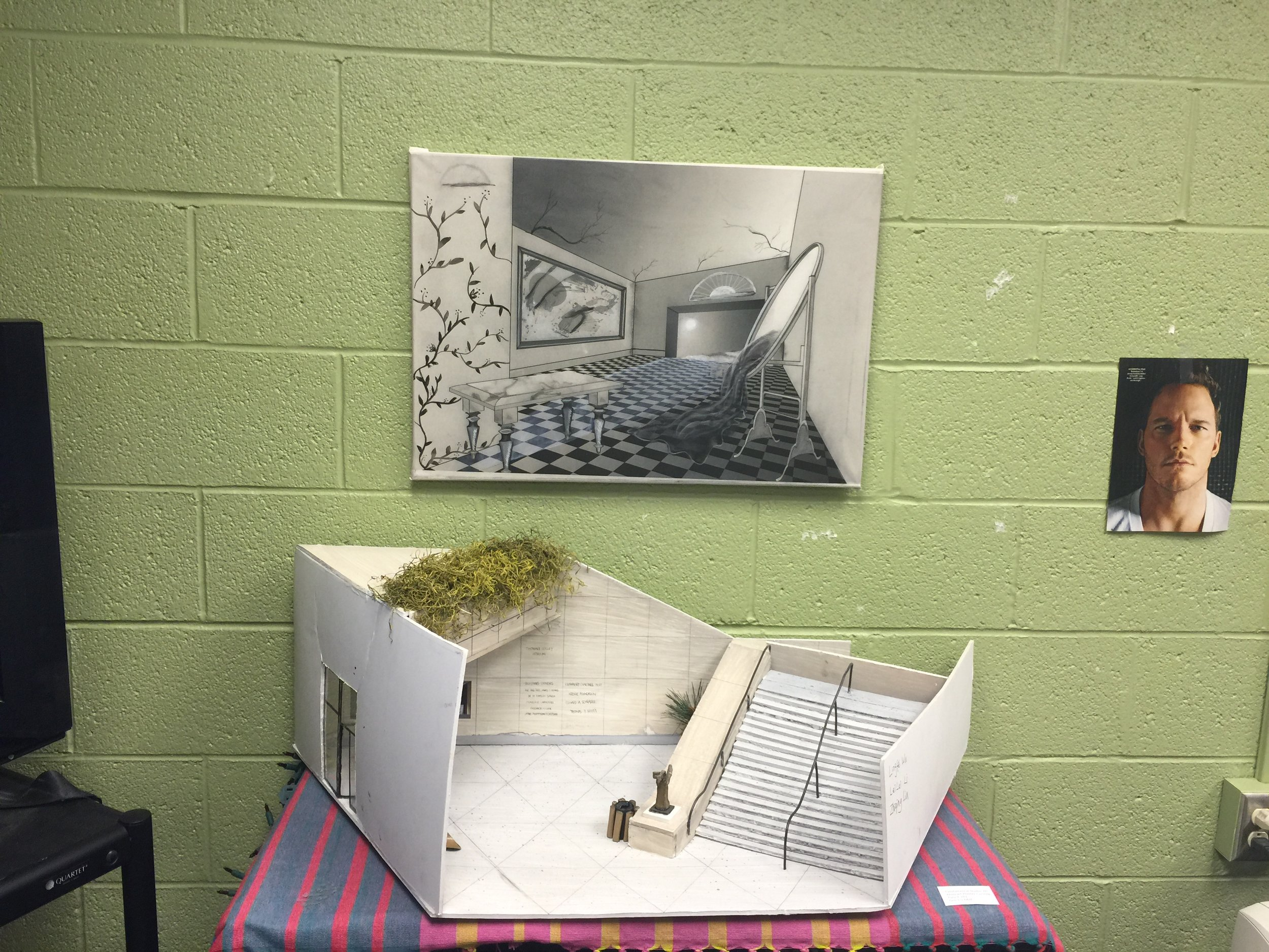 3D model of the IU Art Museum and 2D art created in the Introduction to Computer Art.