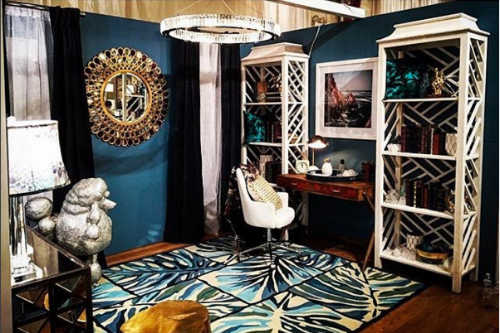 Our Grace Mirror beautifully graces the teal blue wall. Photo taken by Justin Shaulis.