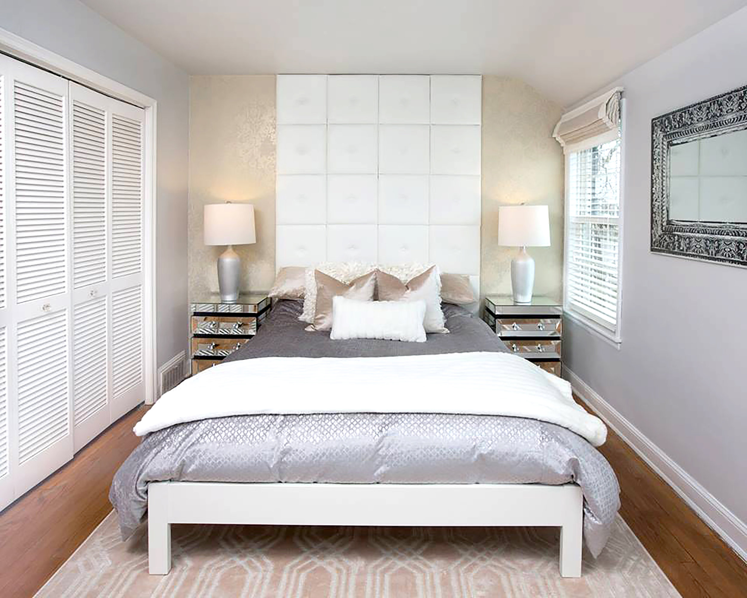 Wall Pixels used as wall accent and headboard. Photo by Happy Interiors Group
