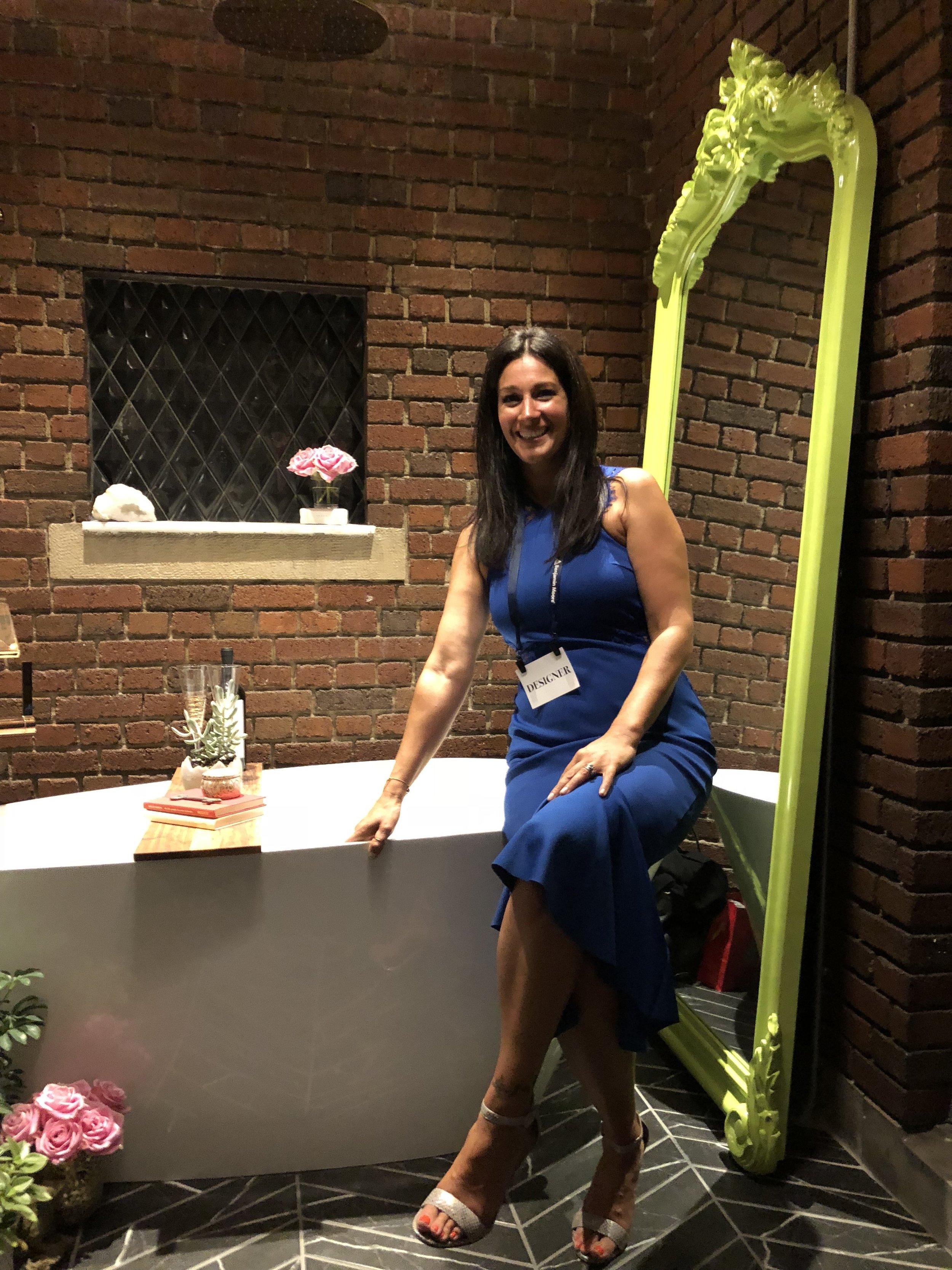 Kristen Eleni Shellenbarger of Iron Key Designs in her Garden Bath by our Green Tudor Mirror