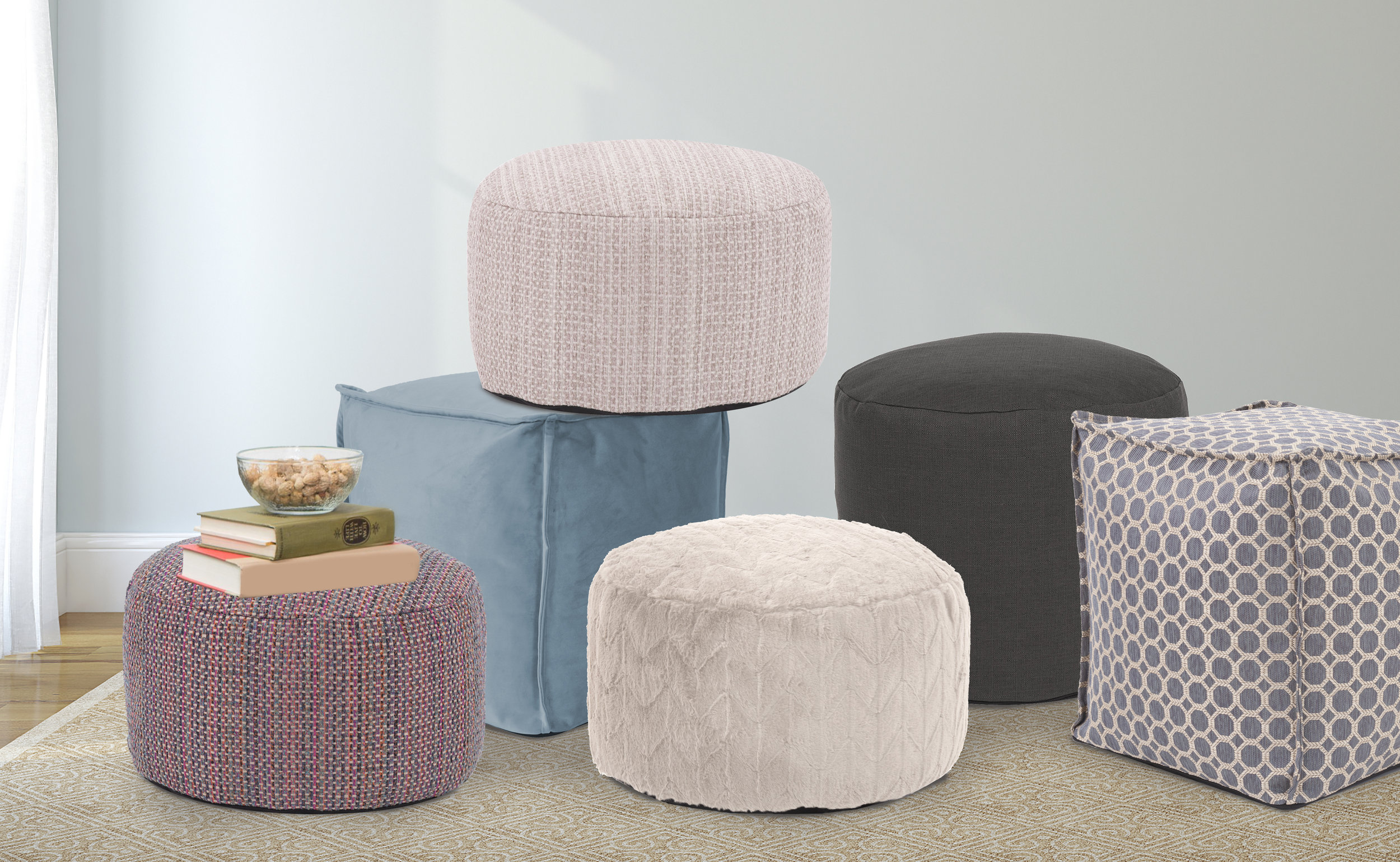 Pouf Ottomans. Perfect, casual seating.  View available options online >