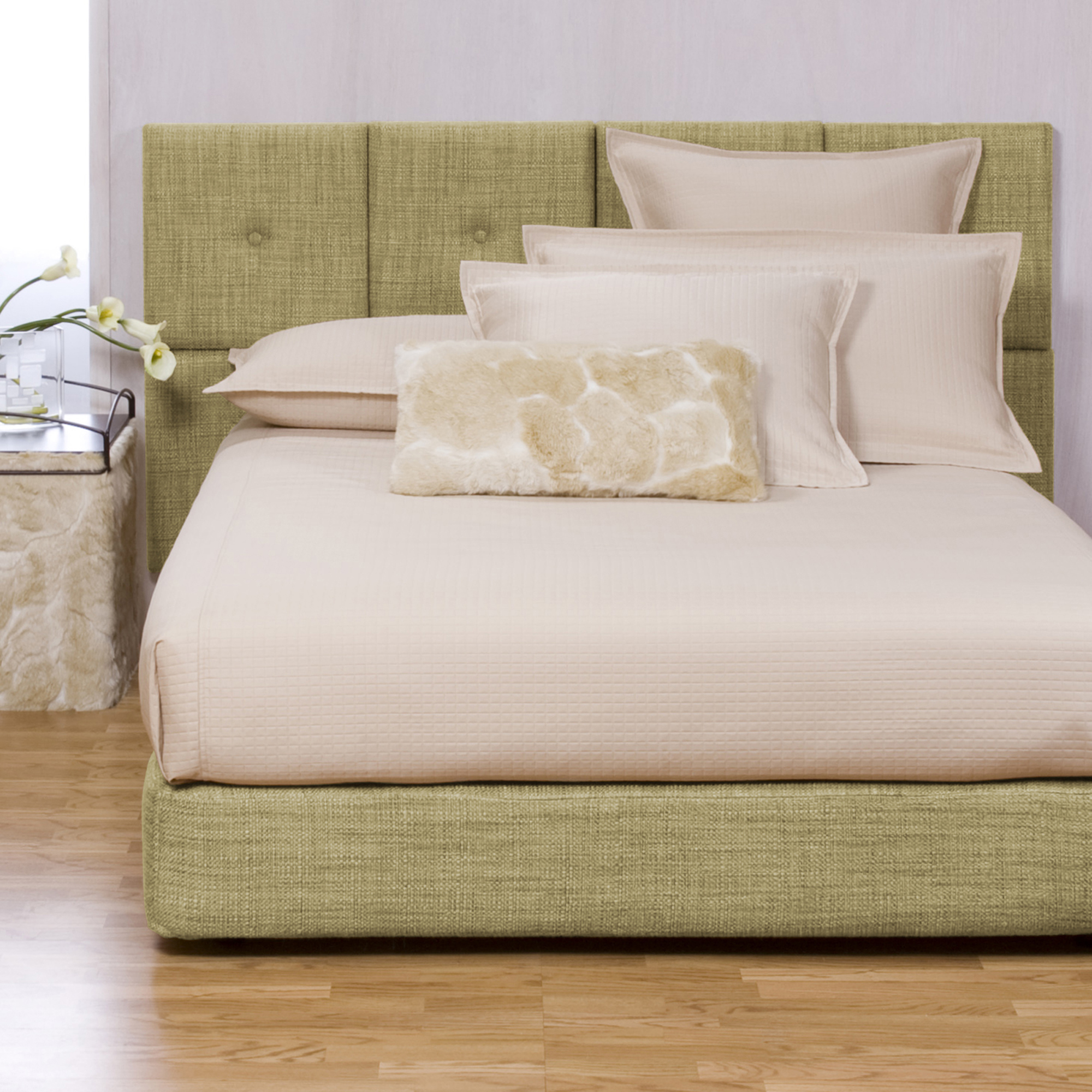 Boxspring Cover in Coco Peridot shown.  View all available options online >