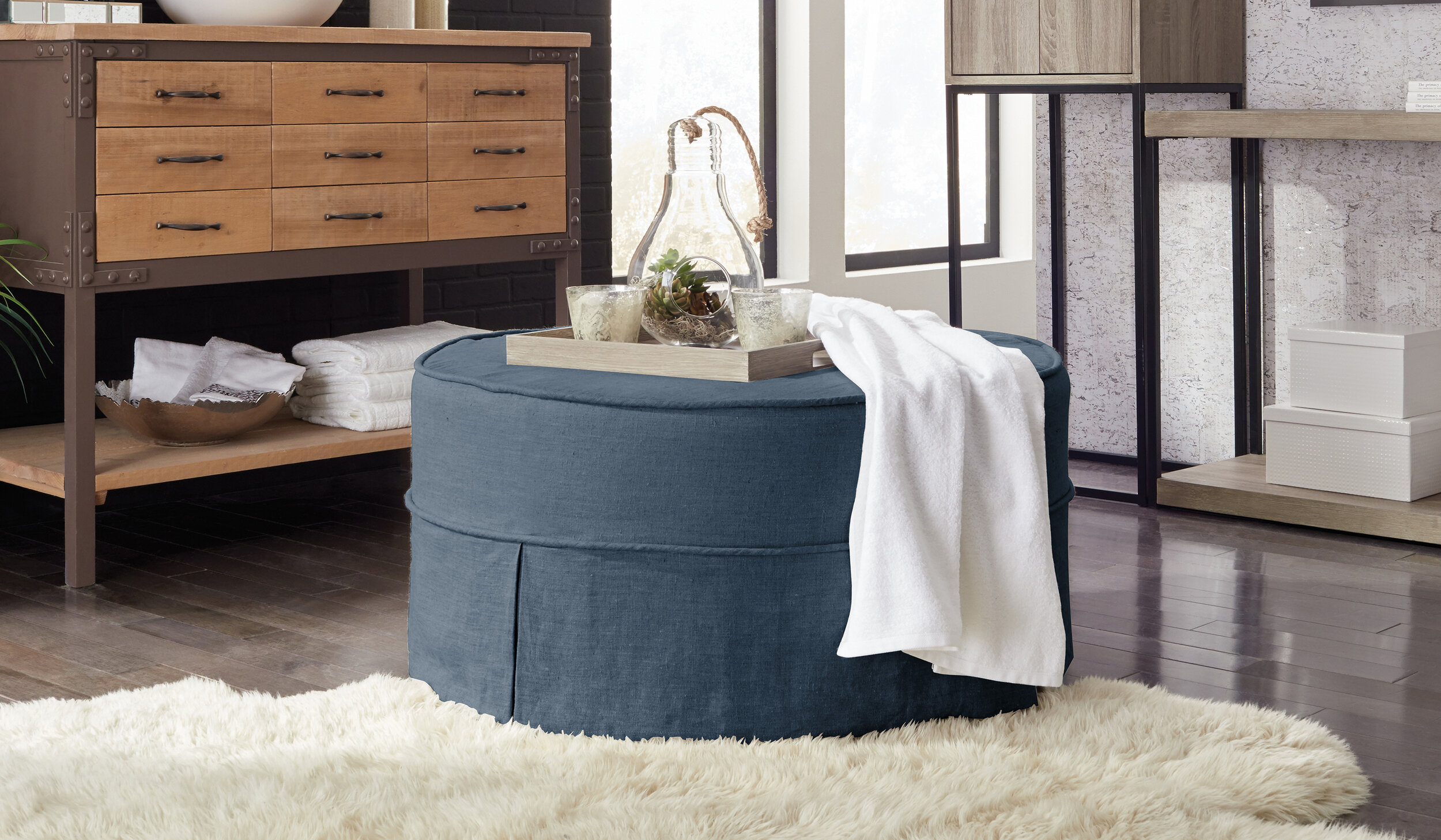 "36"" Round Slipcovered Ottoman in Blue  View Online >"