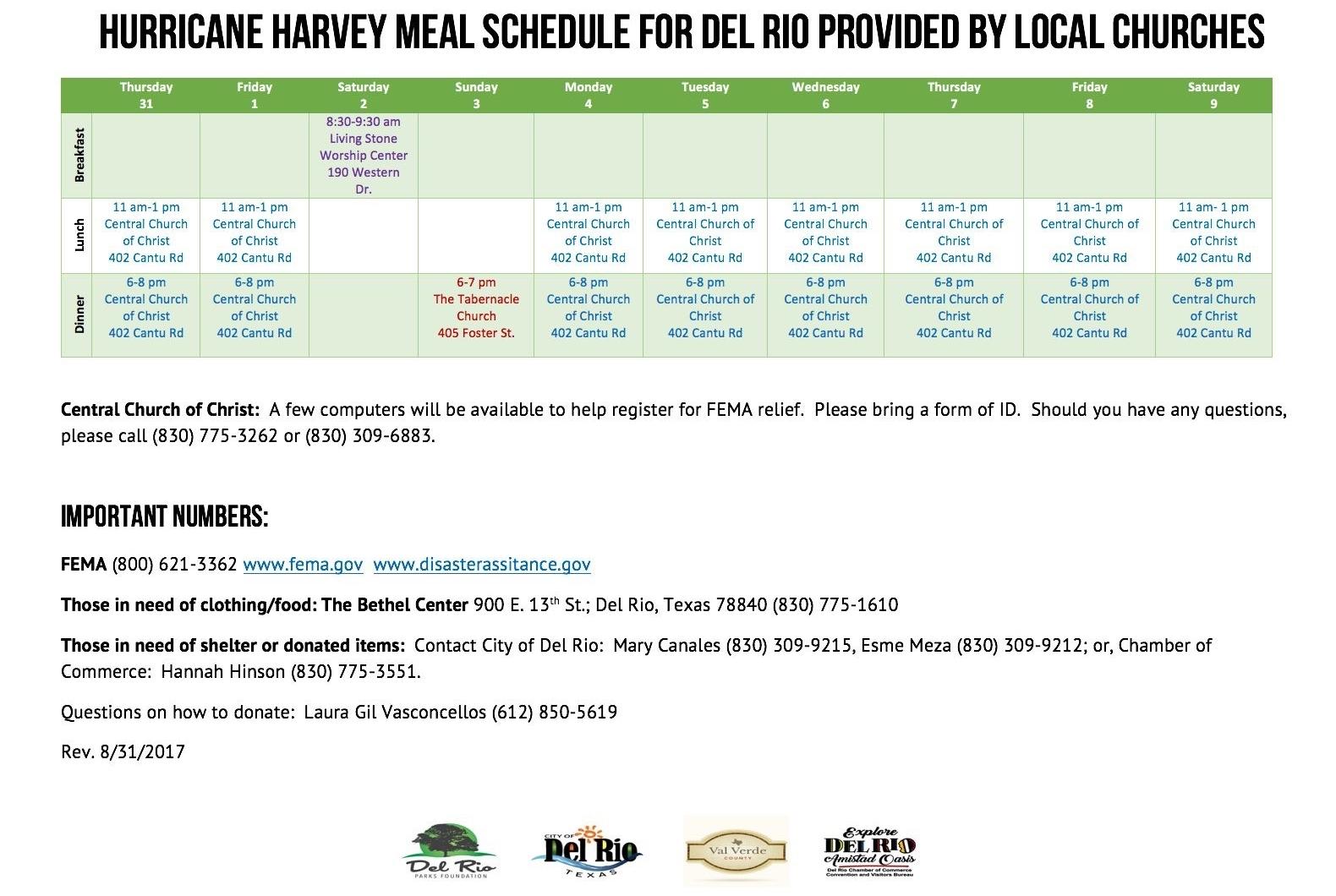 Del Rio, TX Meal Schedule