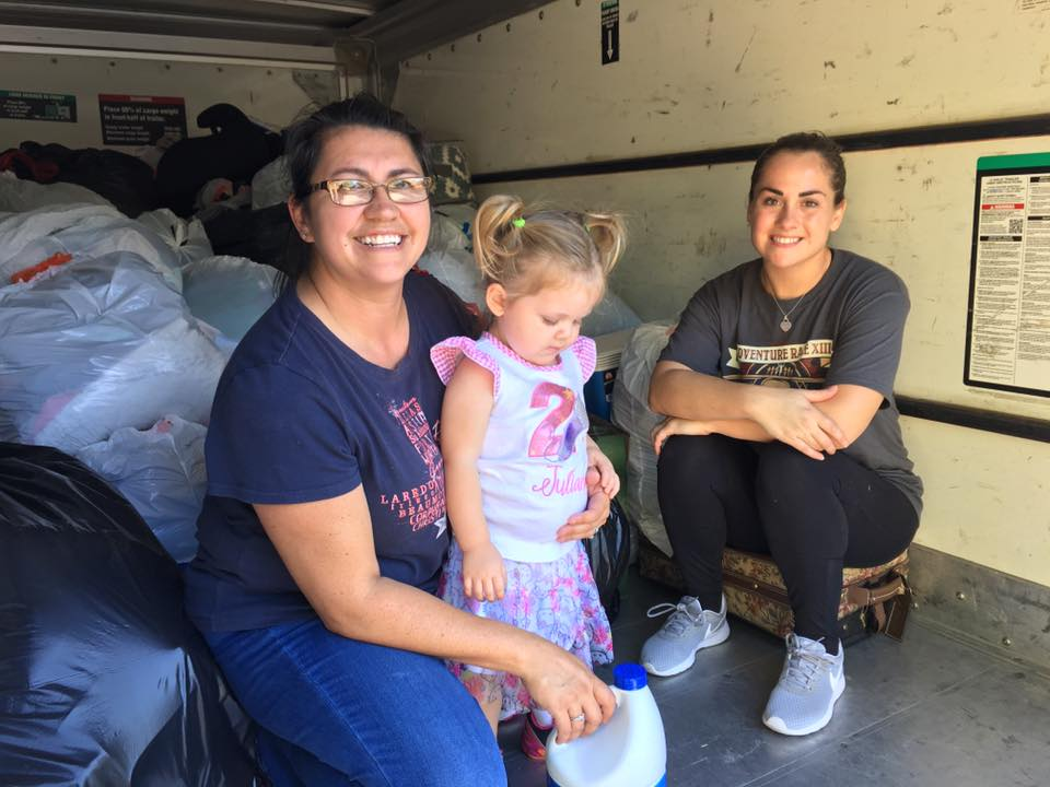 Maria perkins and Rachael Dimitri loading trailer with goods collected at the del Rio Community garden,.