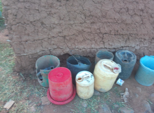 Drought is a serious problem. These are the water canisters used to collect water from a stream several kilometers away.