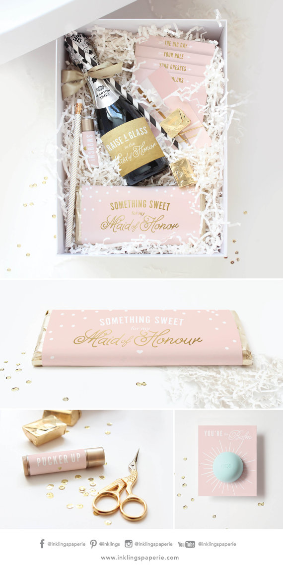 1. This is for the DIY bride who is also very organized. You can order this cute printable set and create a box filled with fun items! This is great for someone who has a small bridal party or loves crafting. You can visit their website  here.
