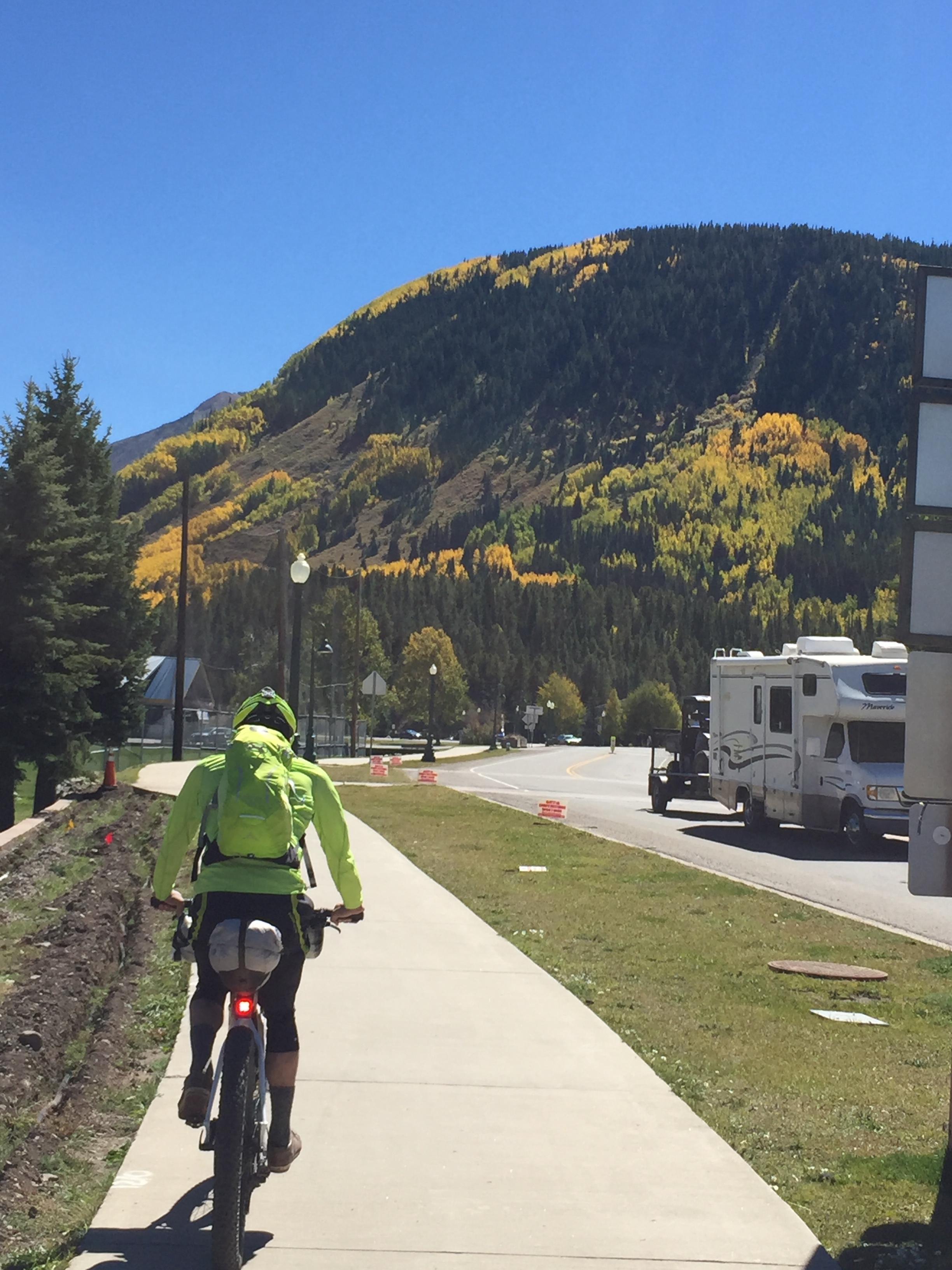 Riding through Crested Butte