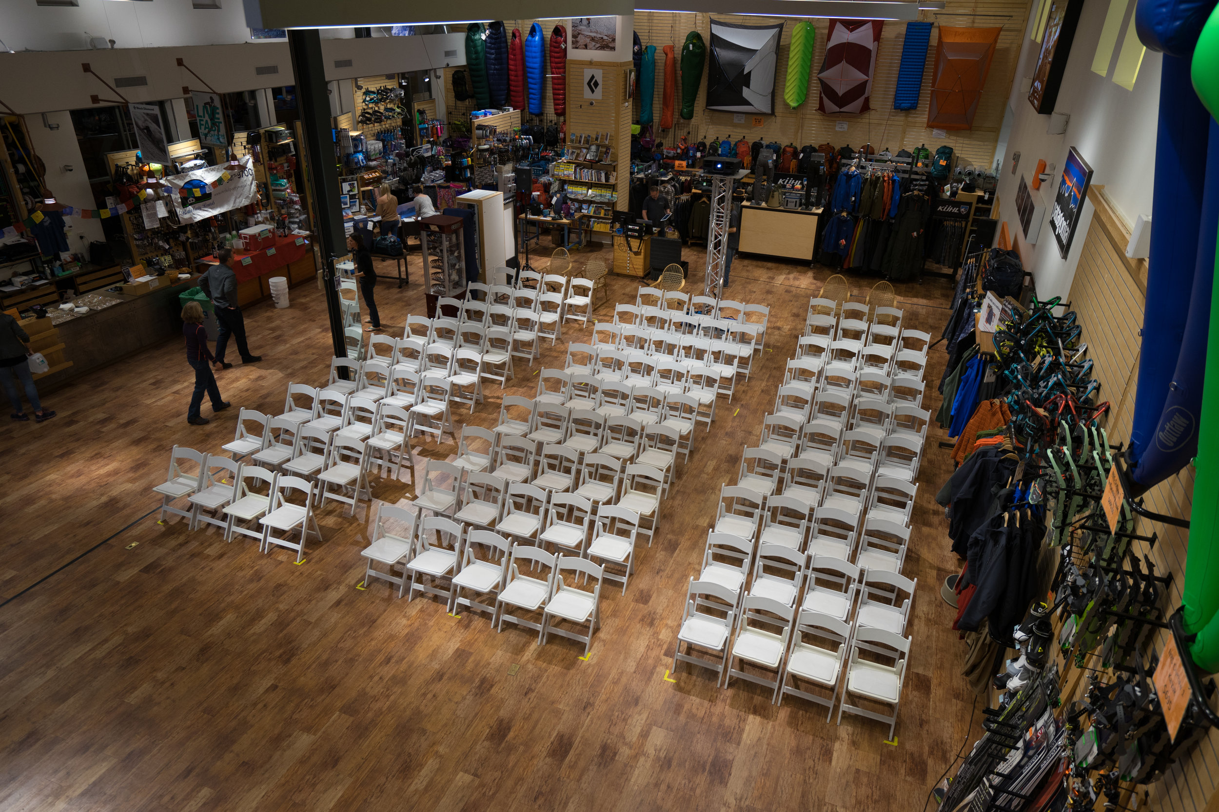 Quite the store transformation! Thank you to Bethel Party Rentals for donating the chairs for 5Point Night at Bristlecone!