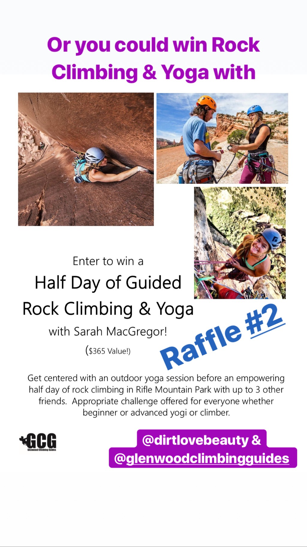 Raffle Prize #2 - A Half Day of Guided Rock Climbing and Yoga with Glenwood Climbing Guides and Sarah MacGregor