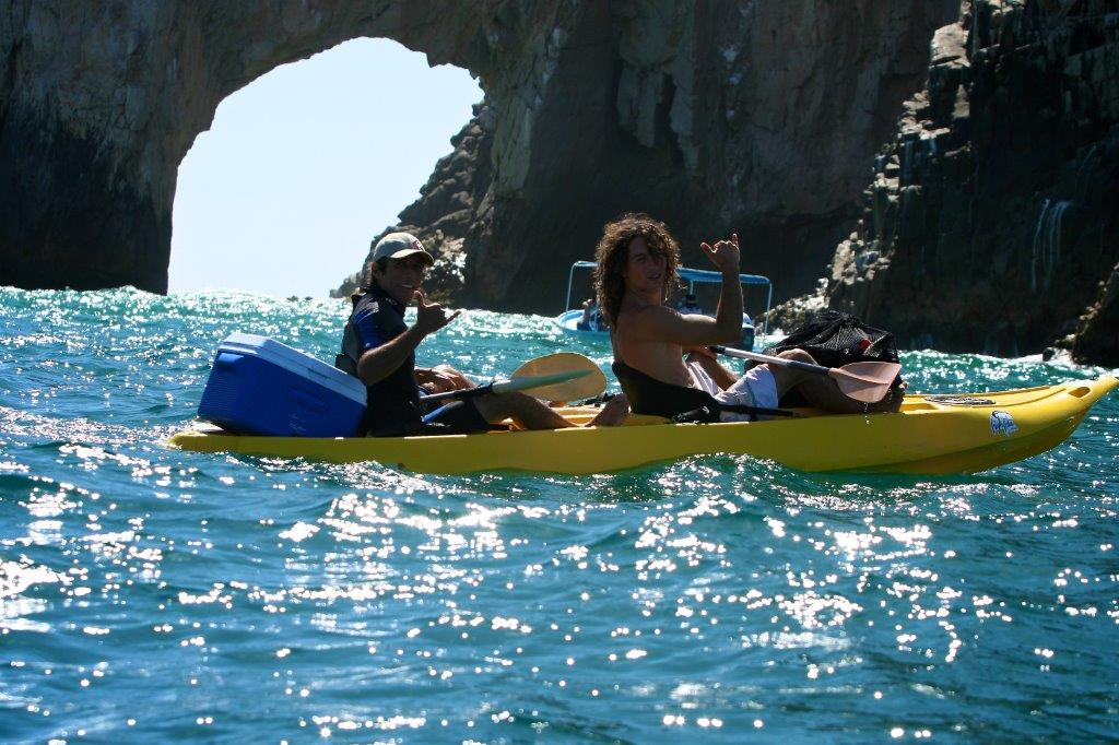 Kayaking under the arch in Los Cabos