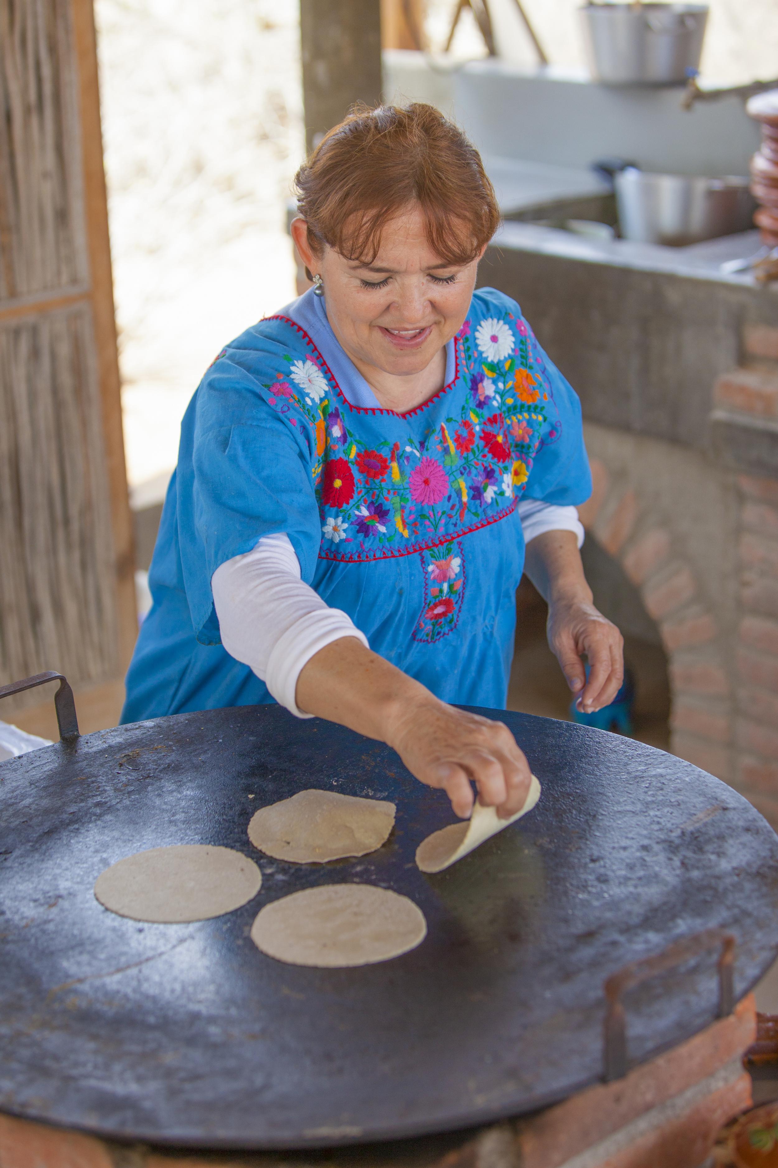 Tortilla making demonstration at the Camel Ranch