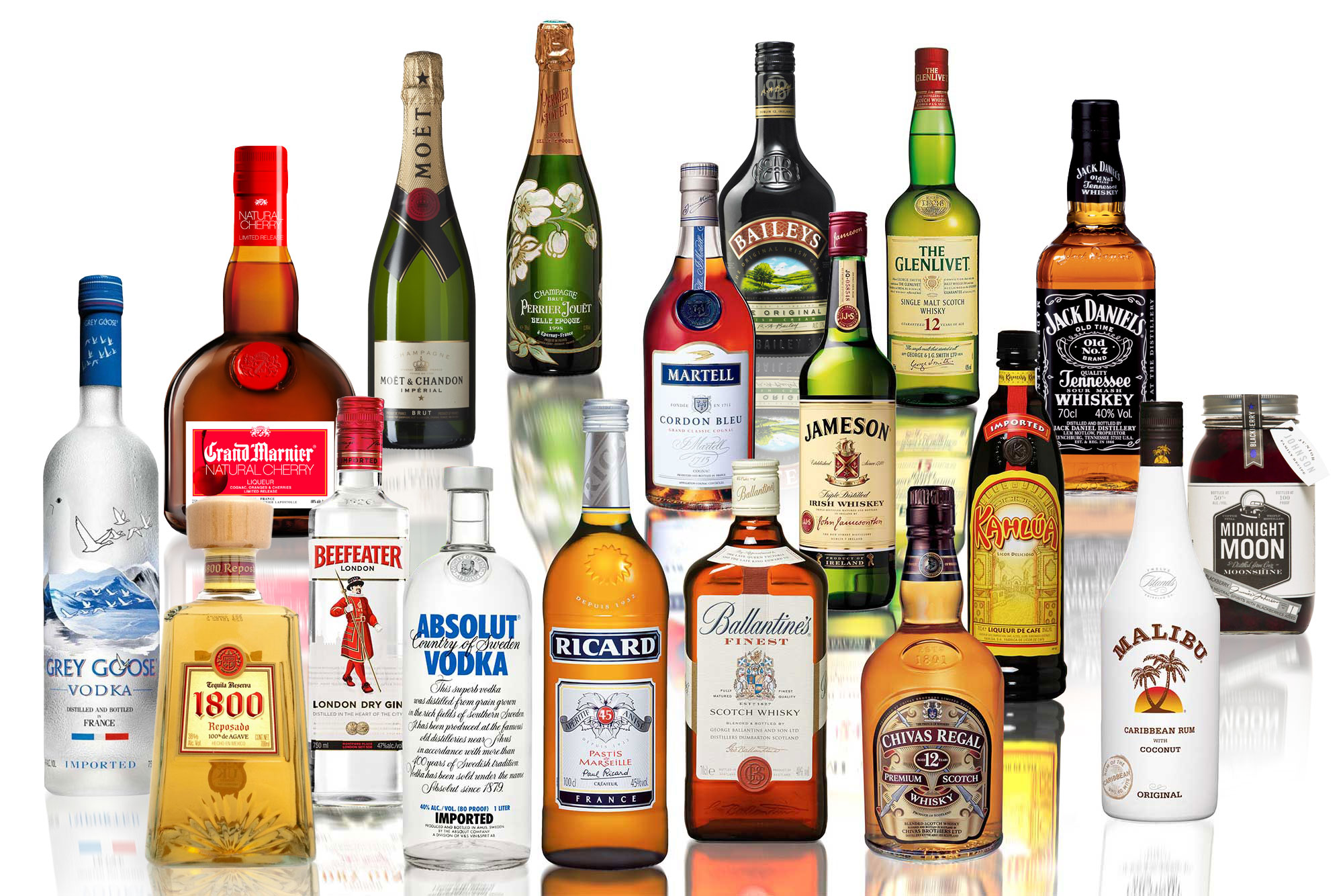 Spirits Package 2 : $350. assorted sodas, Corona beer, Modelo beer, bottled water, Grey Goose vodka, Pina Colada mix, Kahula, Cranberry juice, Jack Daniels Black, Rum, Tequila Don Julio, mineral water, Margarita mix, White wine, Red wine, assorted nuts, chips, & pretzels.