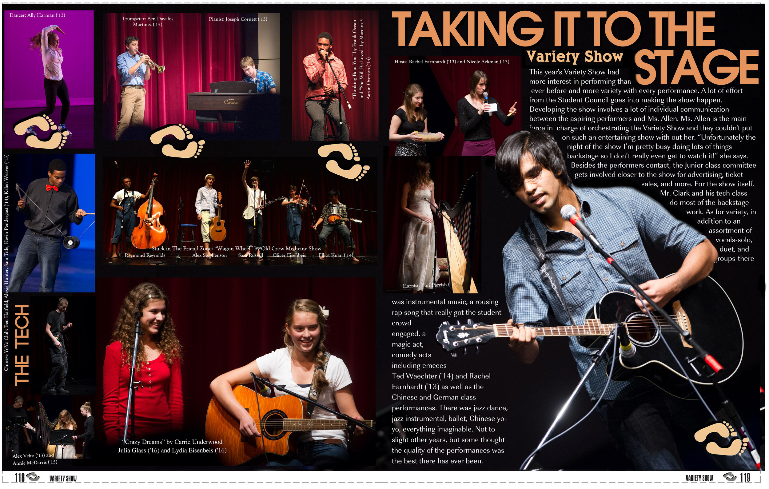 "Example ""Talent Show"" Page for ""No Boundaries"" Yearbook, 2013"