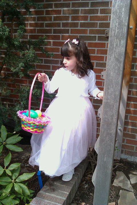 Little one at church Easter egg hunt - 4 yrs old