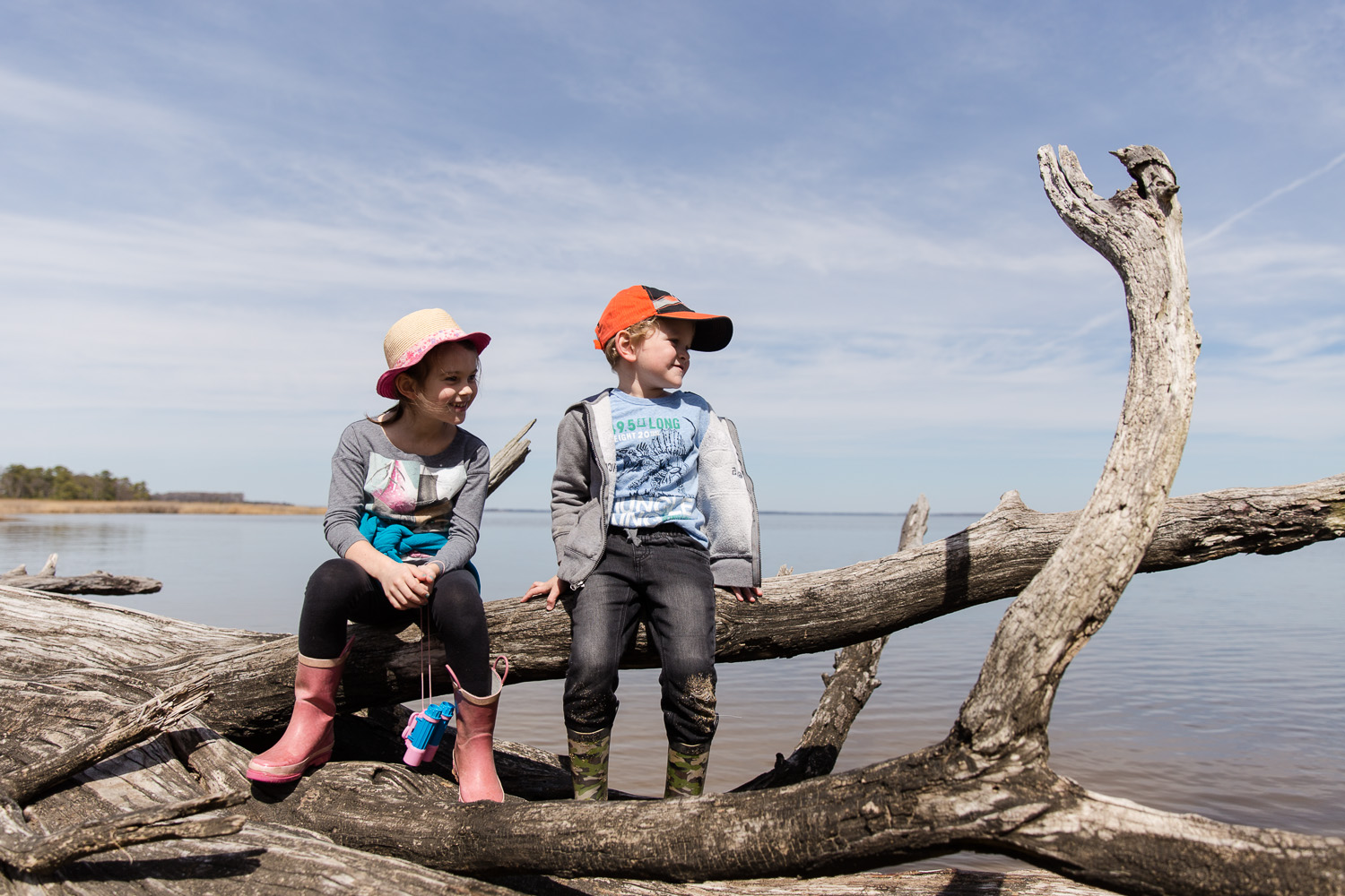 Family storytelling photos of children hiking at Eastern Neck Island in Rock Hall Maryland