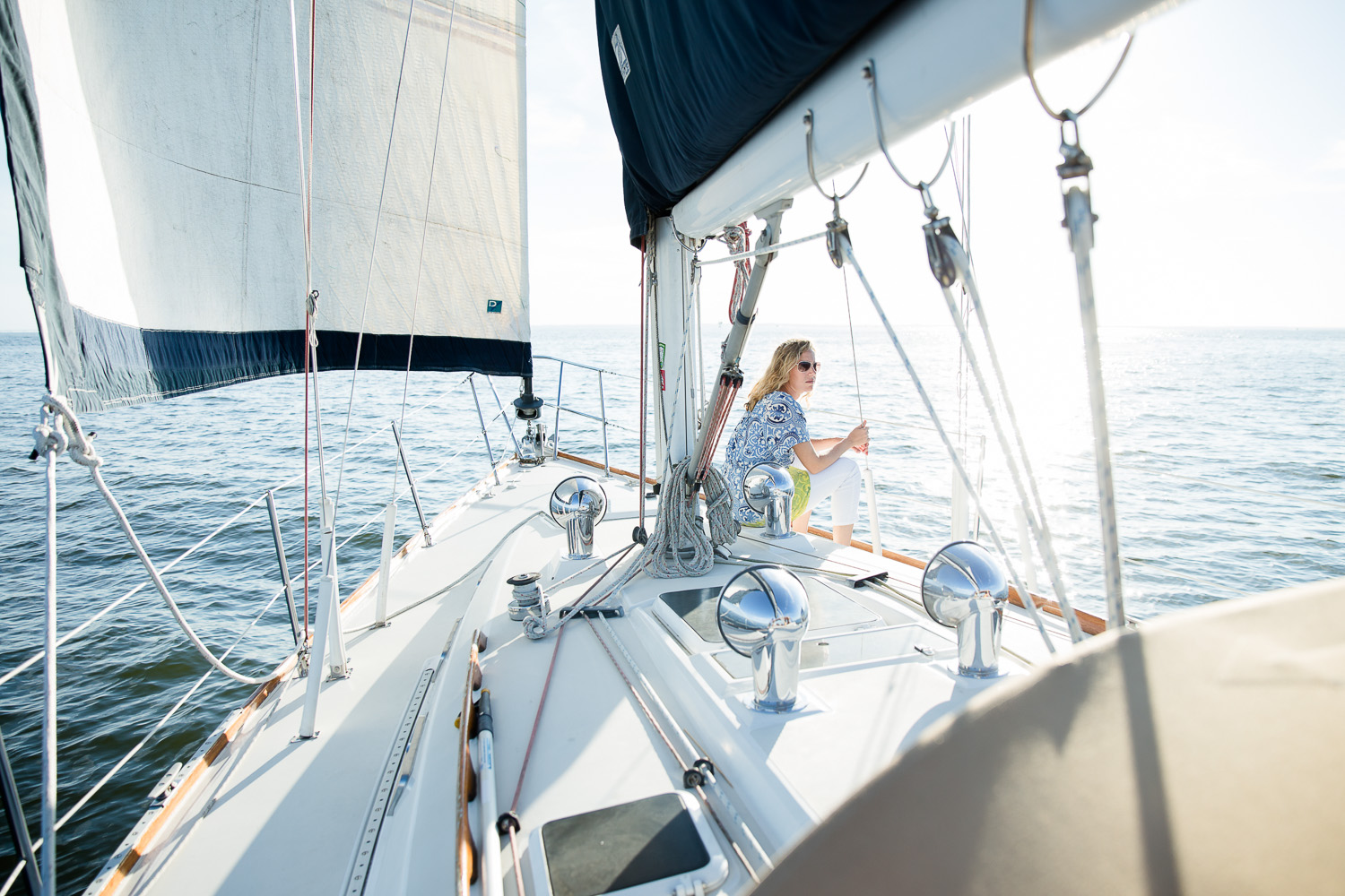 Woman on sailboat in the Chesapeake Bay