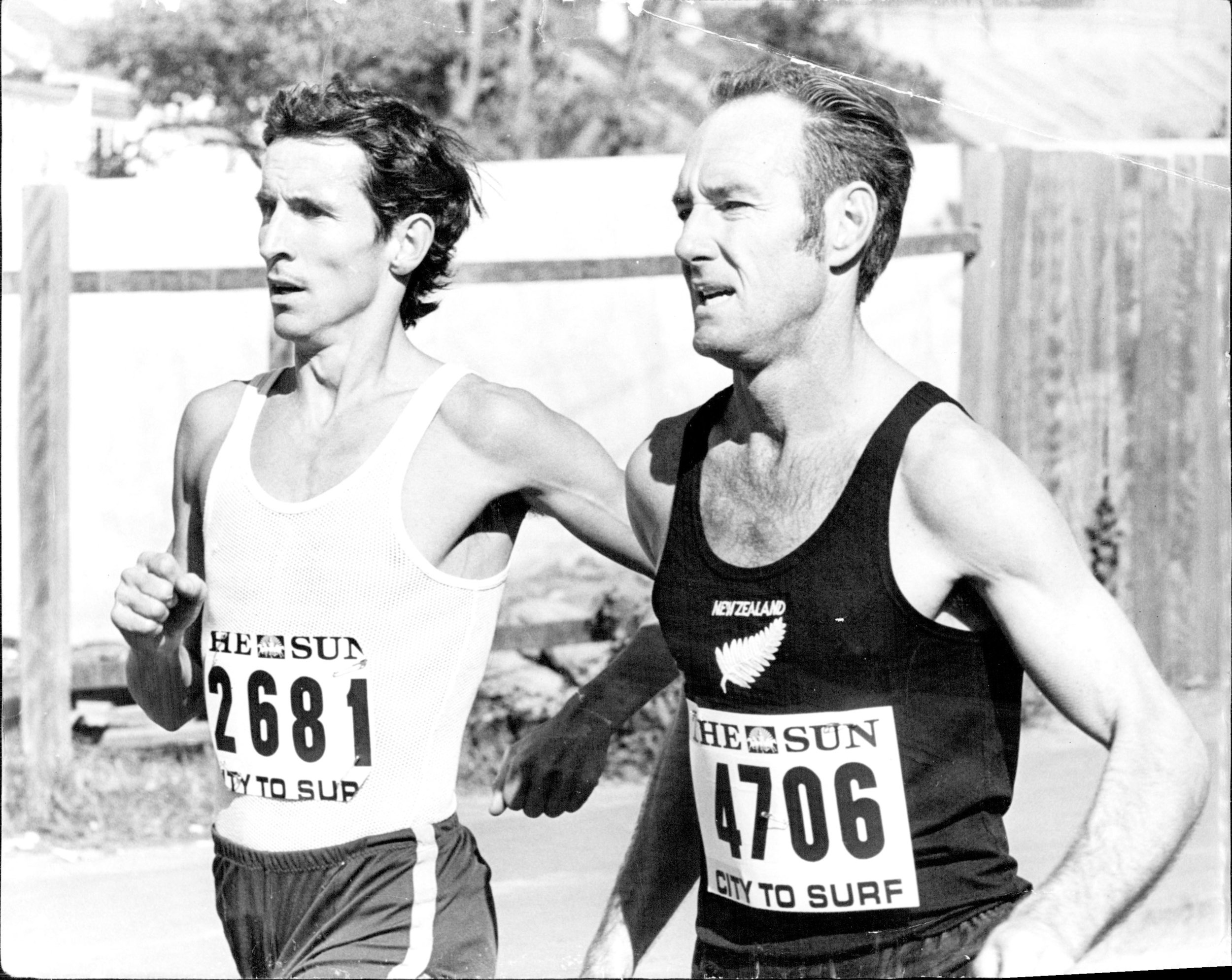 John Farrington (left) running in City2Surf.