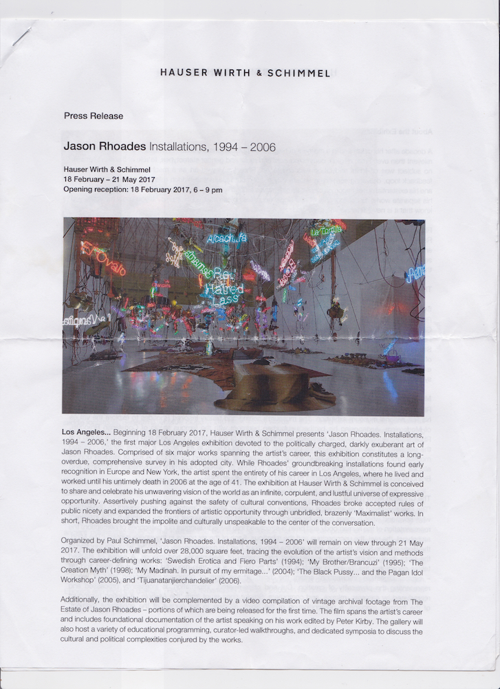 Press Release from Jason Rhodes   Acquired from Hauser & Wirth Los Angeles, March 2017 Scanned October 2018