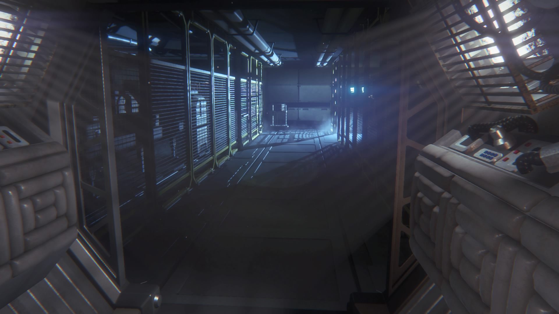 Changing the brightness works more like a claustrophobia meter. The brighter it is, the more spacious the station feels and the more confidence you approach the game with. Less fear.