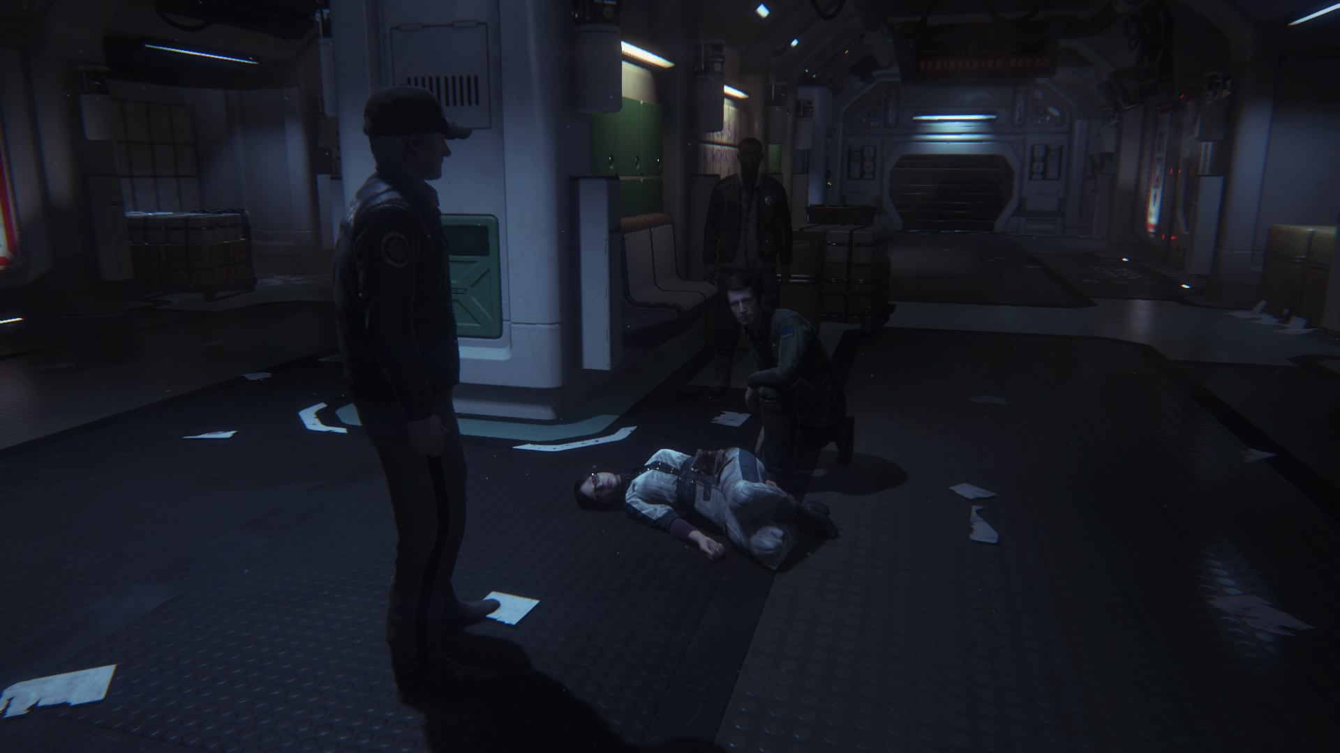 The jackass on the floor is probably going to die. We'll assume she tripped on her space stilettos while alien slowly walked behind her until he stabbed her with it's penis. I mean tail.