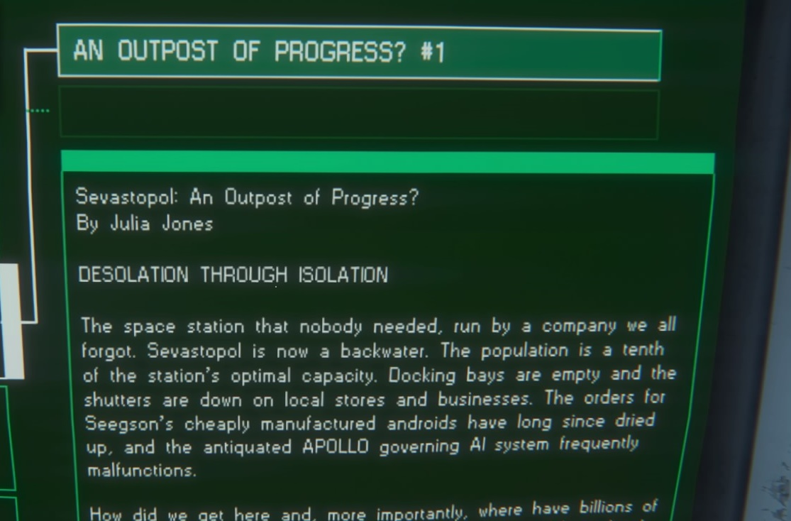 Julia, a total nobody from Sevastopol leaves a message rambling about her first world space age problems.