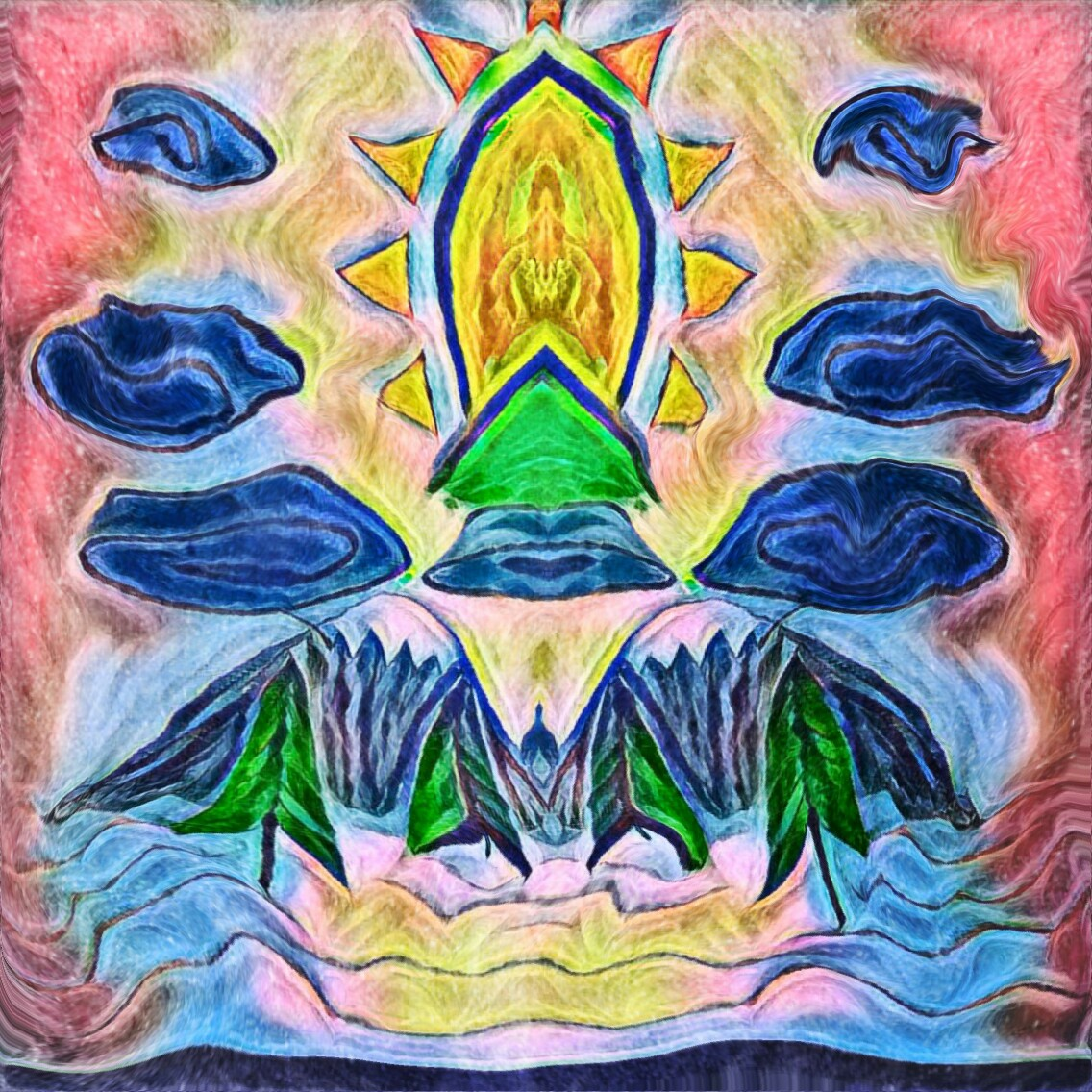 psychedelic art, trippy art, strange art, sun, spiritual art, god, surreal art, jesus, messiah, vagina, trees, mountain, clouds