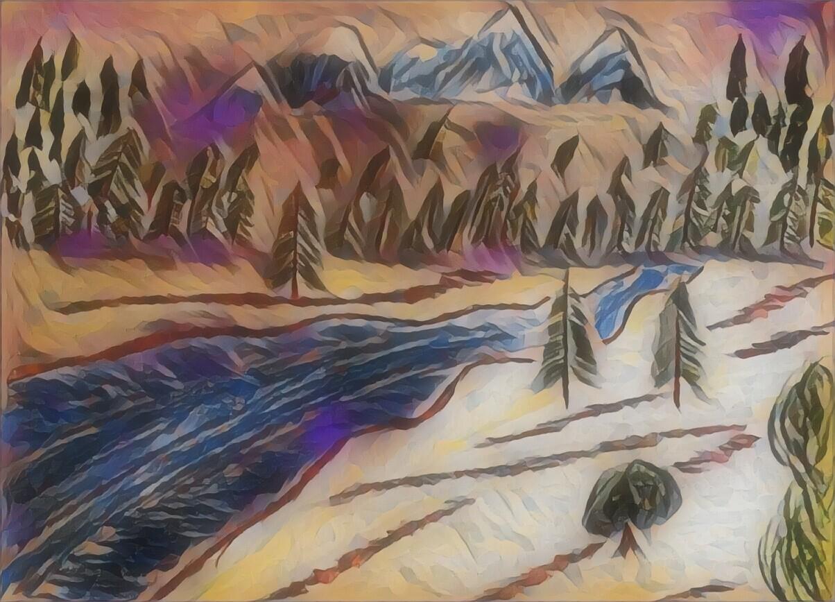pine trees art, mountains, water, river, stream, grass, hills, nature, sky